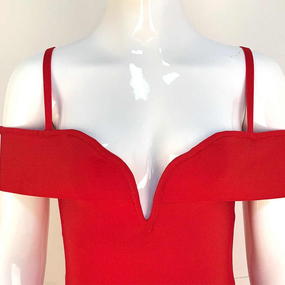 Red Strapy Sleeveless Knee Length Deep V Sexy Bandage Dress HB1060-Red