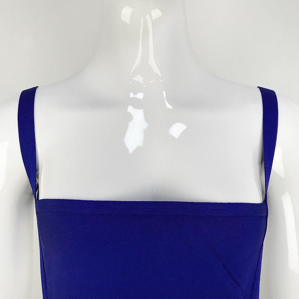 Rayon - Blue Strapy Sleeveless Maxi Backless Elegant Bandage Dress HJ445-Blue