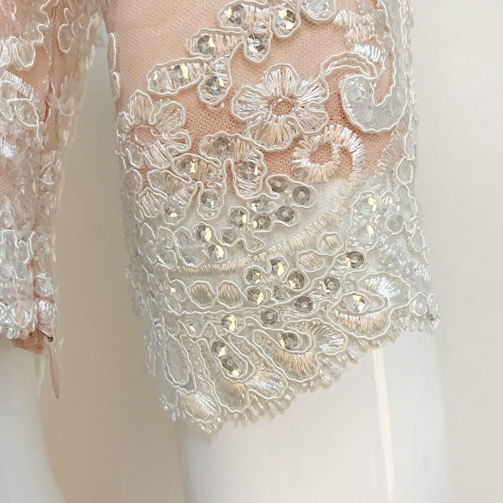 Rayon - Nude High Neck Midsleeve 2 Piece Lace Top Bandage Skirt Dropshipping Bandage Set HJ453-Nude