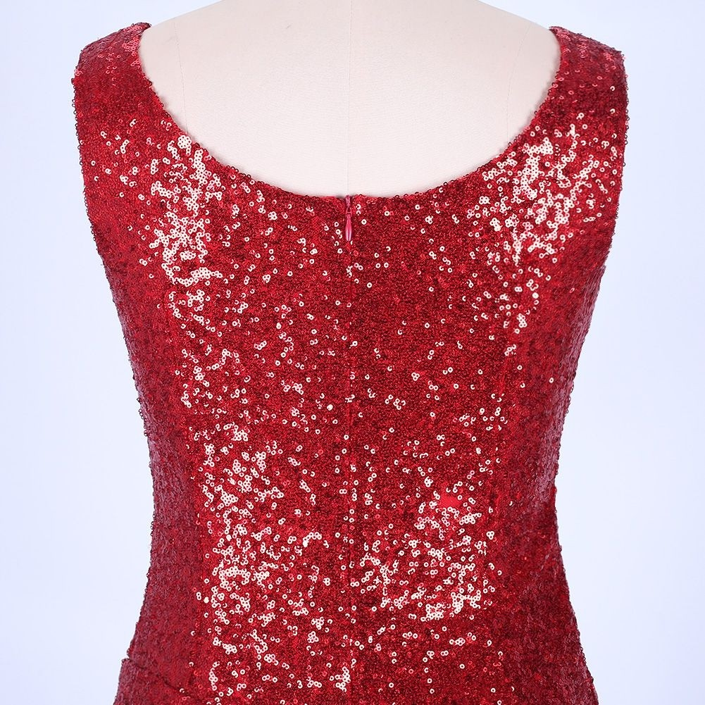 Red Sequins Mini Sleeveless Strapy Bodycon Dress FLY19126-Red