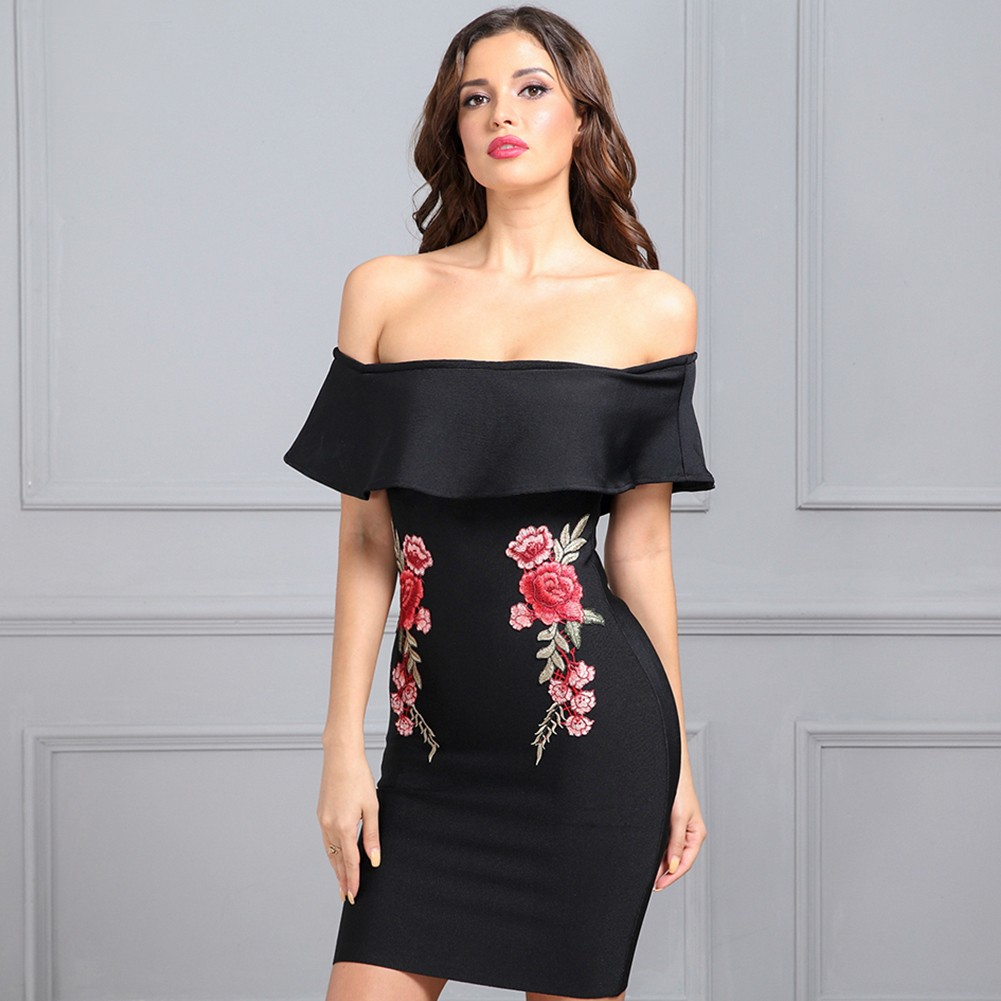 Black Off Shoulder Cap Sleeve Mini Ruffles Flower Decorated Elegant Bandage Dress HB1013-Black