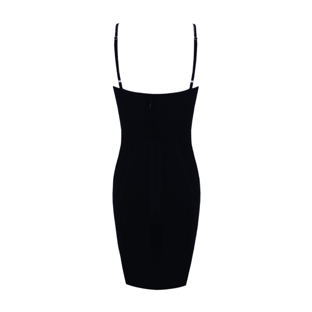 Rayon - Black Strapy Sleeveless Mini Backless Sexy Bandage Dress H0025-Black