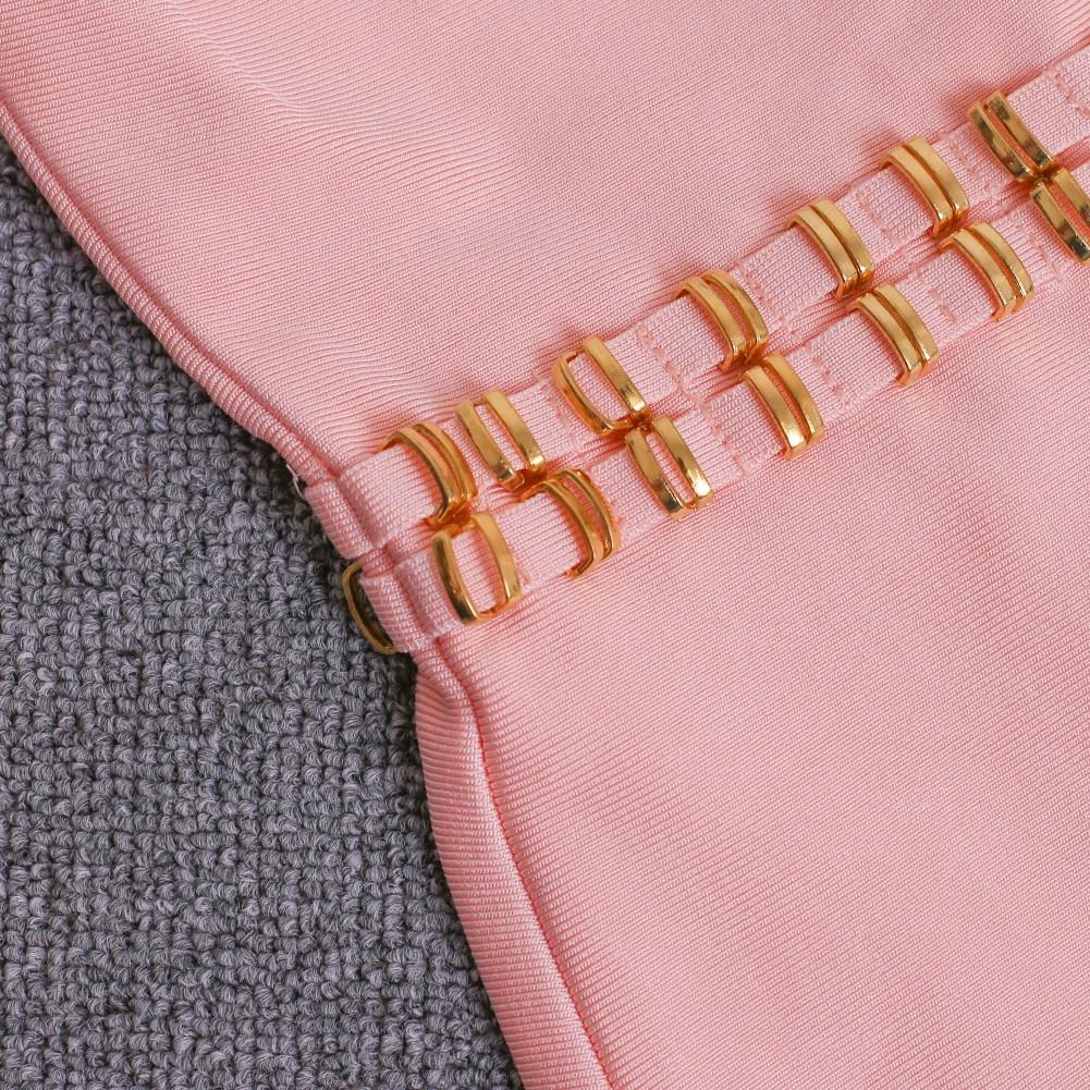 Round Neck Sleeveless Knee length Bead Pink High quality Bandage dress HT1179-PINK