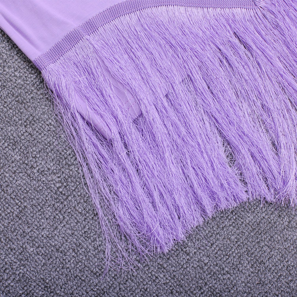 Rayon - Purple Turtle Neck Capsleeve Mini Tasseled Lace Top Quality Bandage Dress HJ454-Purple