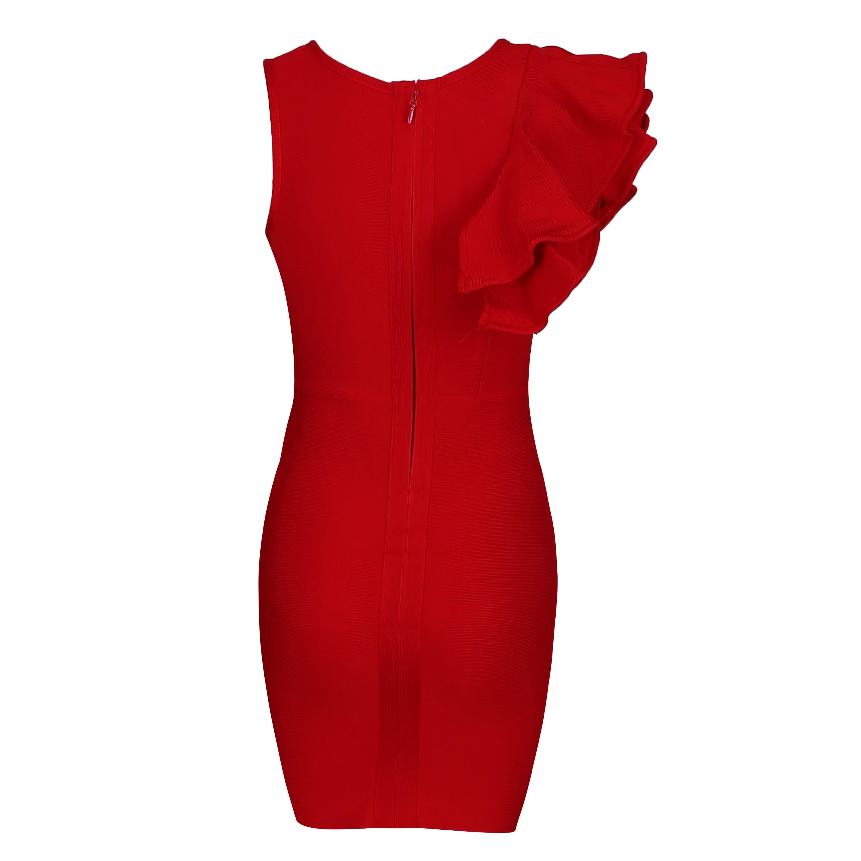 Red Round Neck Short Sleeve Over Knee Shoulder Embellished High Quality Bandage Dress HQ223-Red