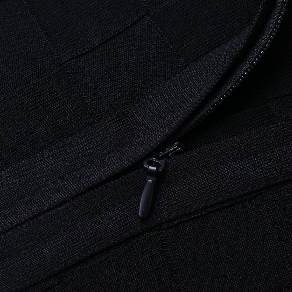 Rayon - Black Strapless Long Sleeve Maxi Jacquard Party Bandage Set HJ478-Black
