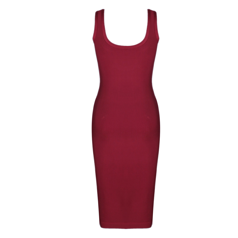 Wine Strapy Sleeveless Over Knee Plain Fashion Bandage Dress HI913-Wine