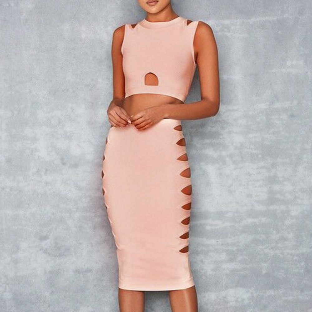 Rayon - Nude Round Neck Sleeveless 2 Piece Cut Out Over Knee Sexy Bandage Dress HJ433-Nude
