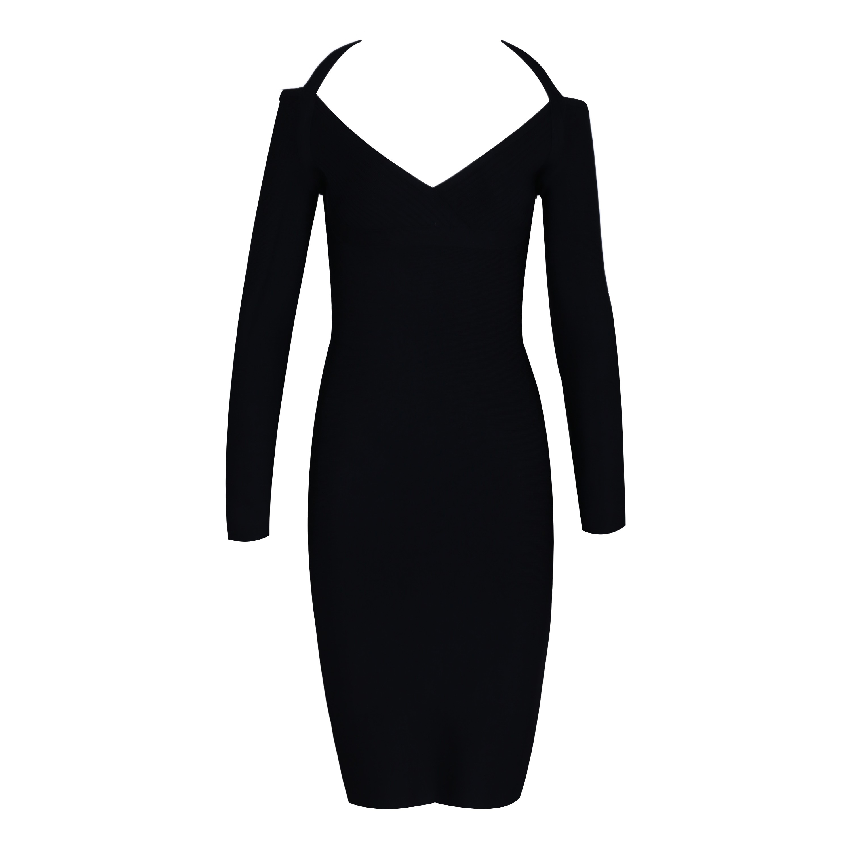 Rayon - Black Halter Long Sleeve Mini Backless Popular Bandage Dress H0065-Black