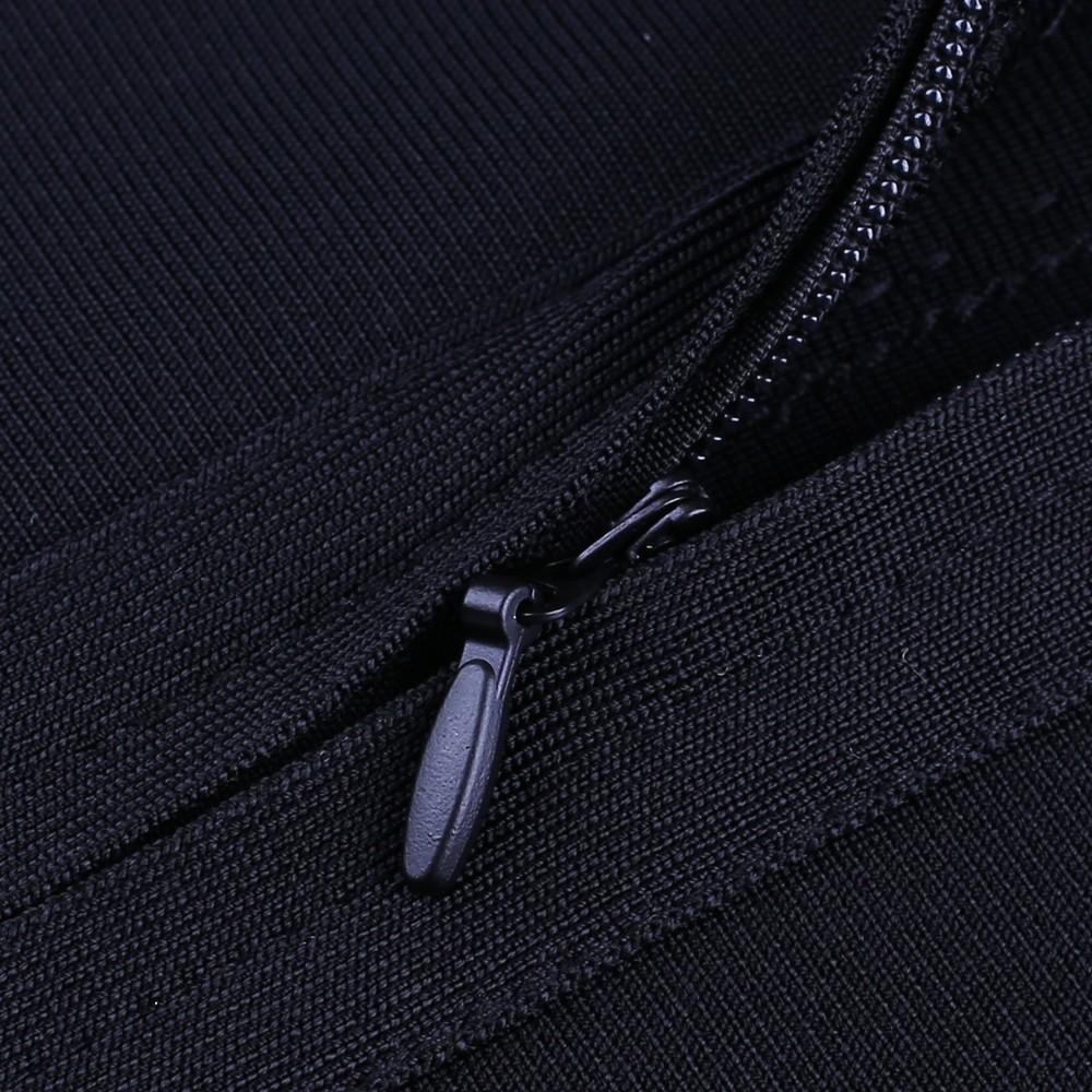 Rayon - Black Round Neck Long Sleeve Knee Length Metal Studded Beaded High Quality Bandage Dress SW023-Black