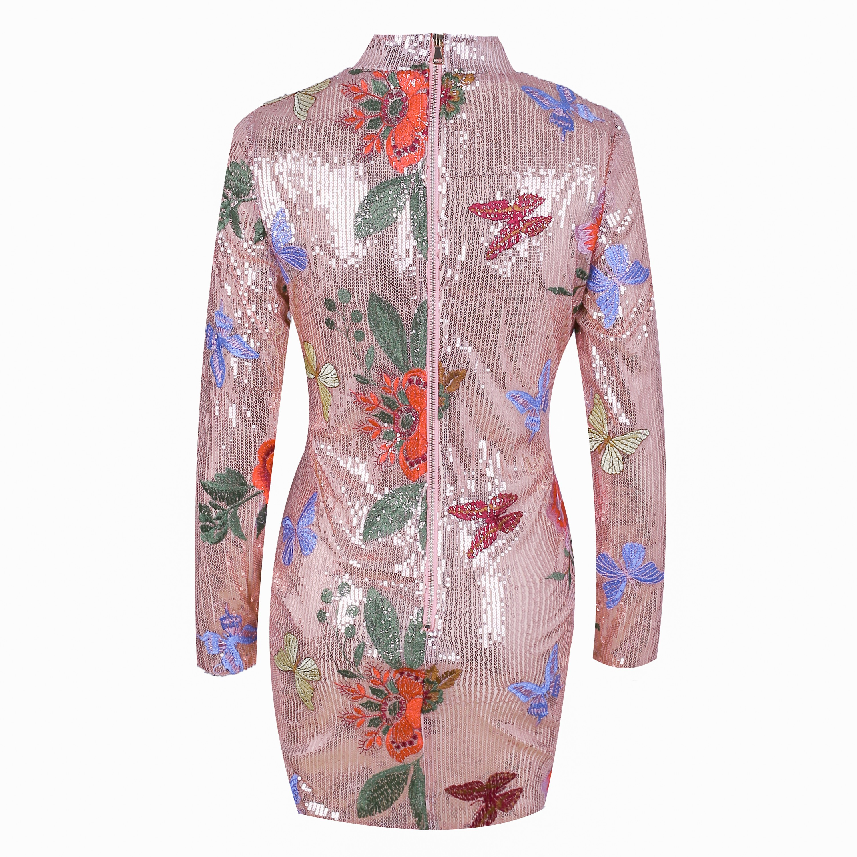 Gold High Neck Long Sleeve Mini Flower Decorated Sexy Bodycon Dress HW239-Gold
