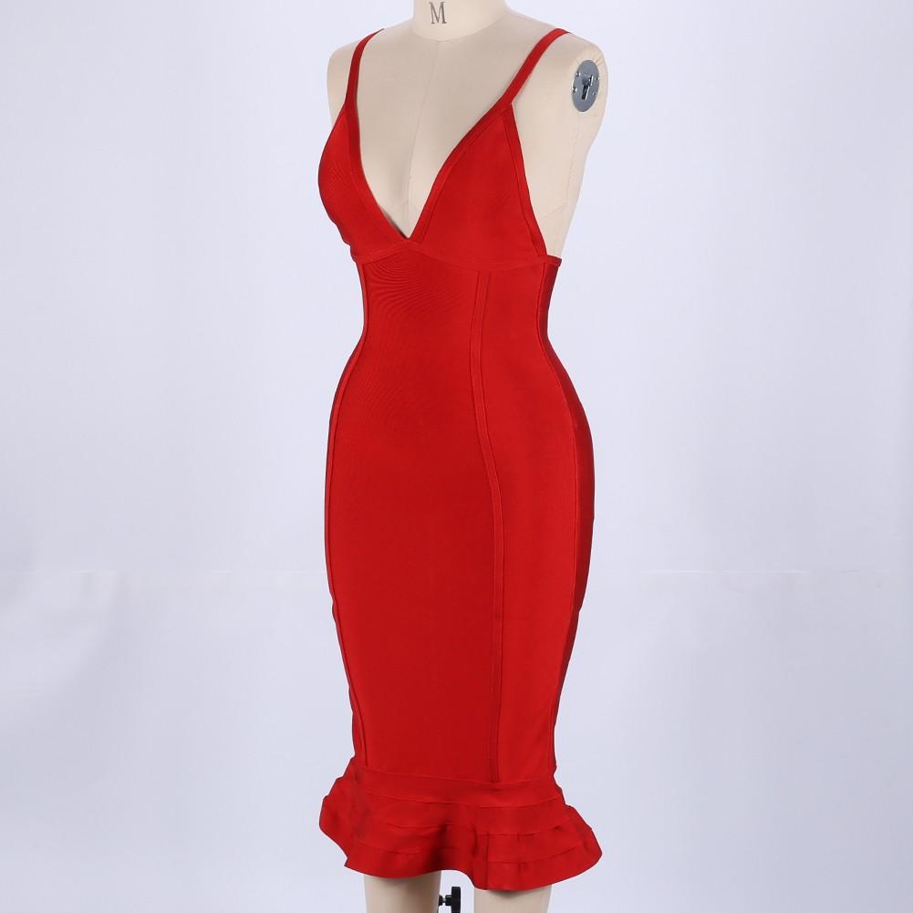 Red V Neck Sleeveless Over Knee High Quality Bandage Dress HB4365-Red