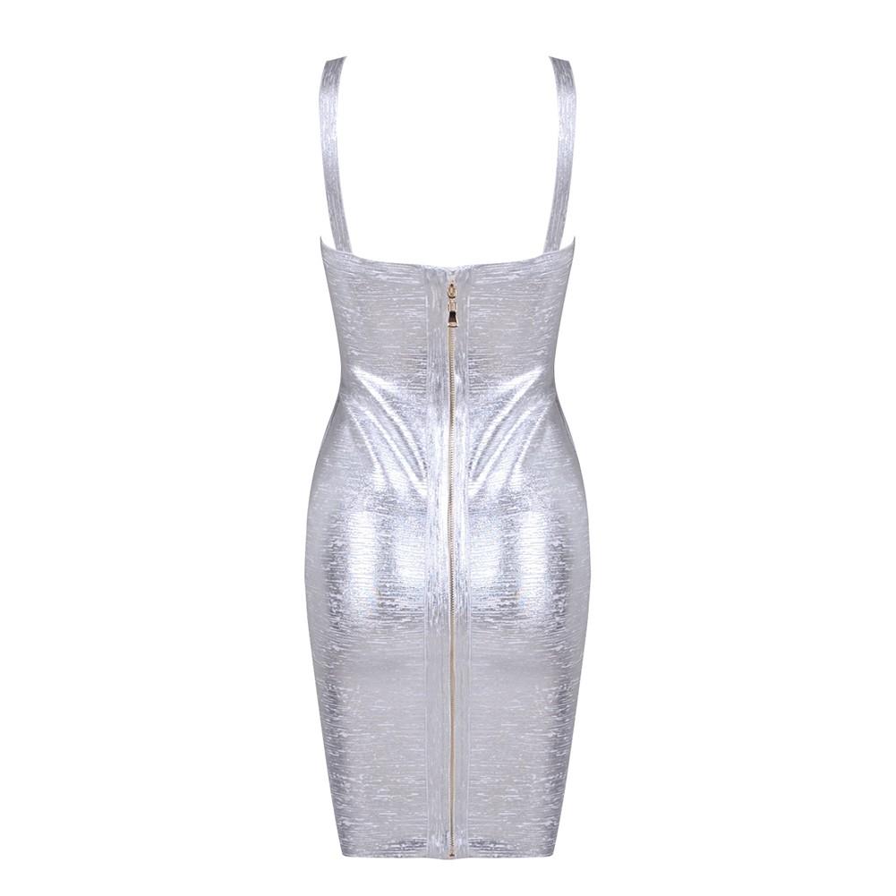 Silver V Neck Sleeveless Mini Foil Printing Plain Best Quality Bandage Dress HQ242-Silver
