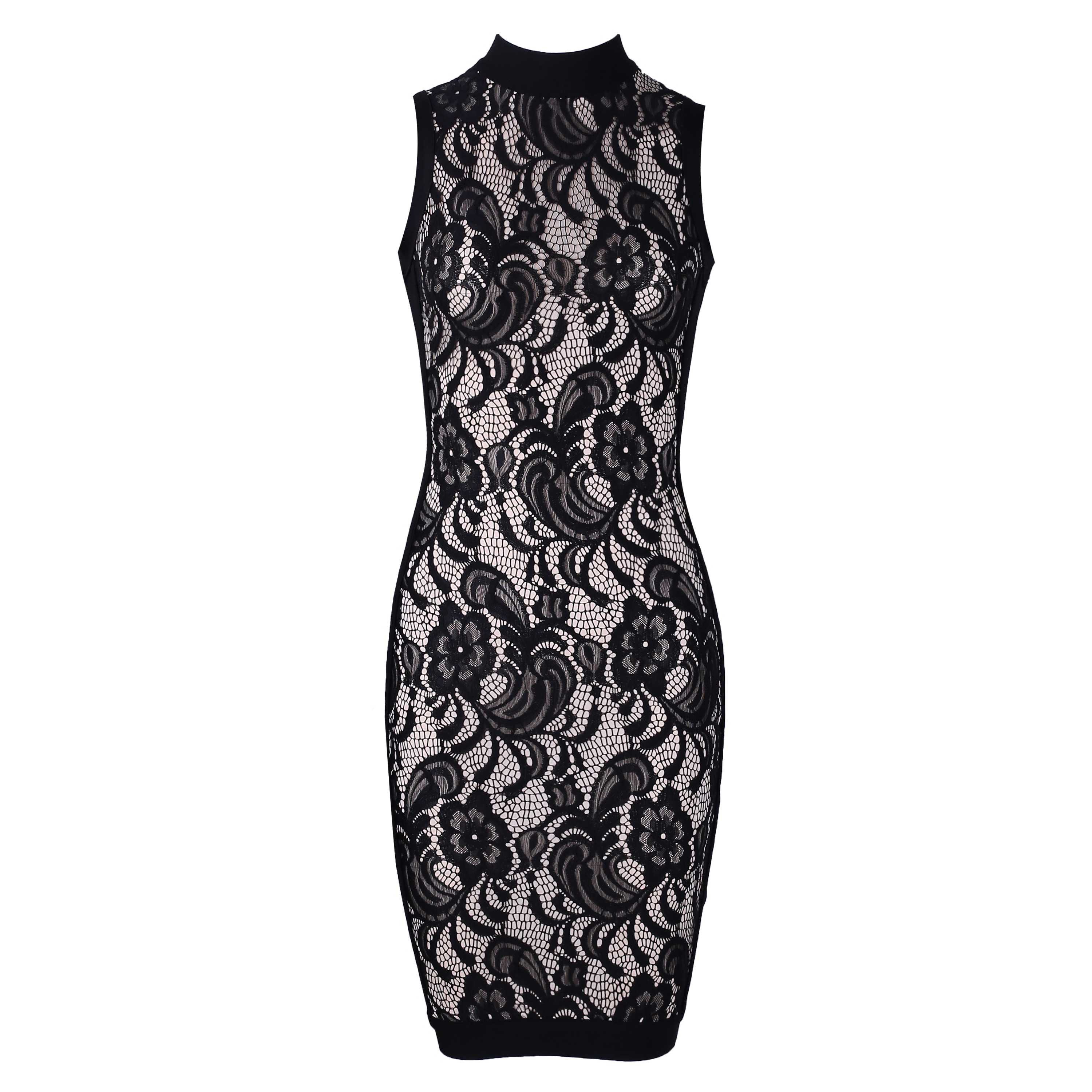 Rayon - Black Round Neck Sleeveless Over Knee Lace Fashion Bodycon Dress H0072-Black