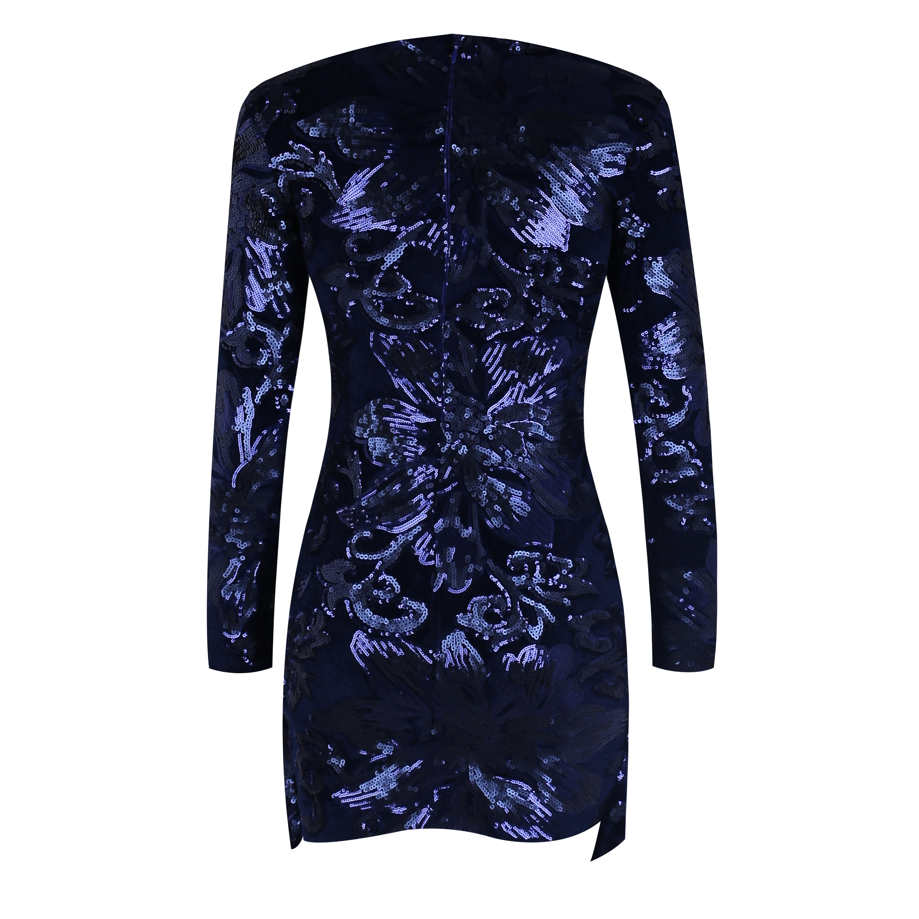 Blue Round Neck Long Sleeve Above Knee Side Slitted Floweral Sequined Wholesale Bodycon Dress HF123-Blue