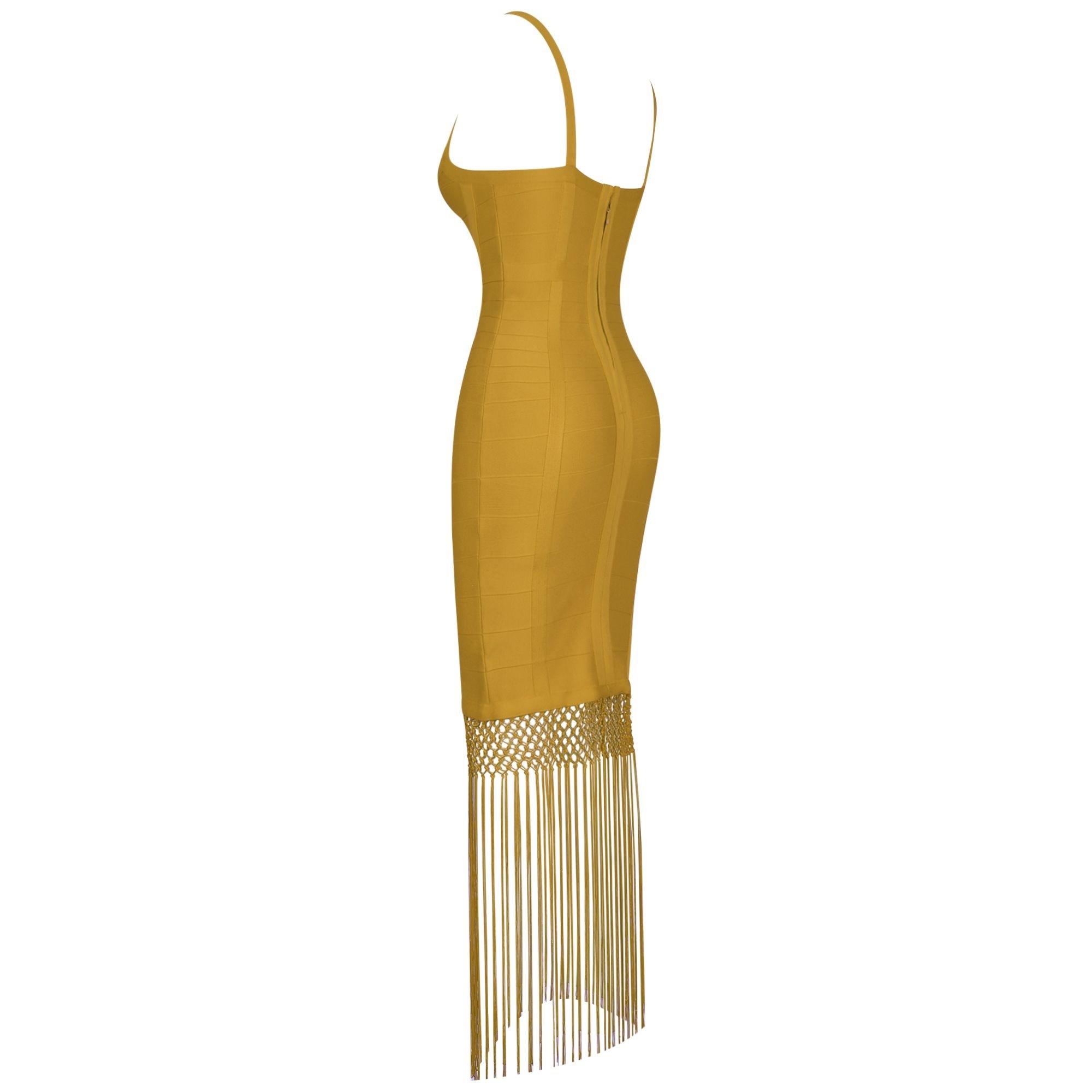 Ginger Tassels Maxi Sleeveless Strapy Bandage Dress PF19043-Ginger