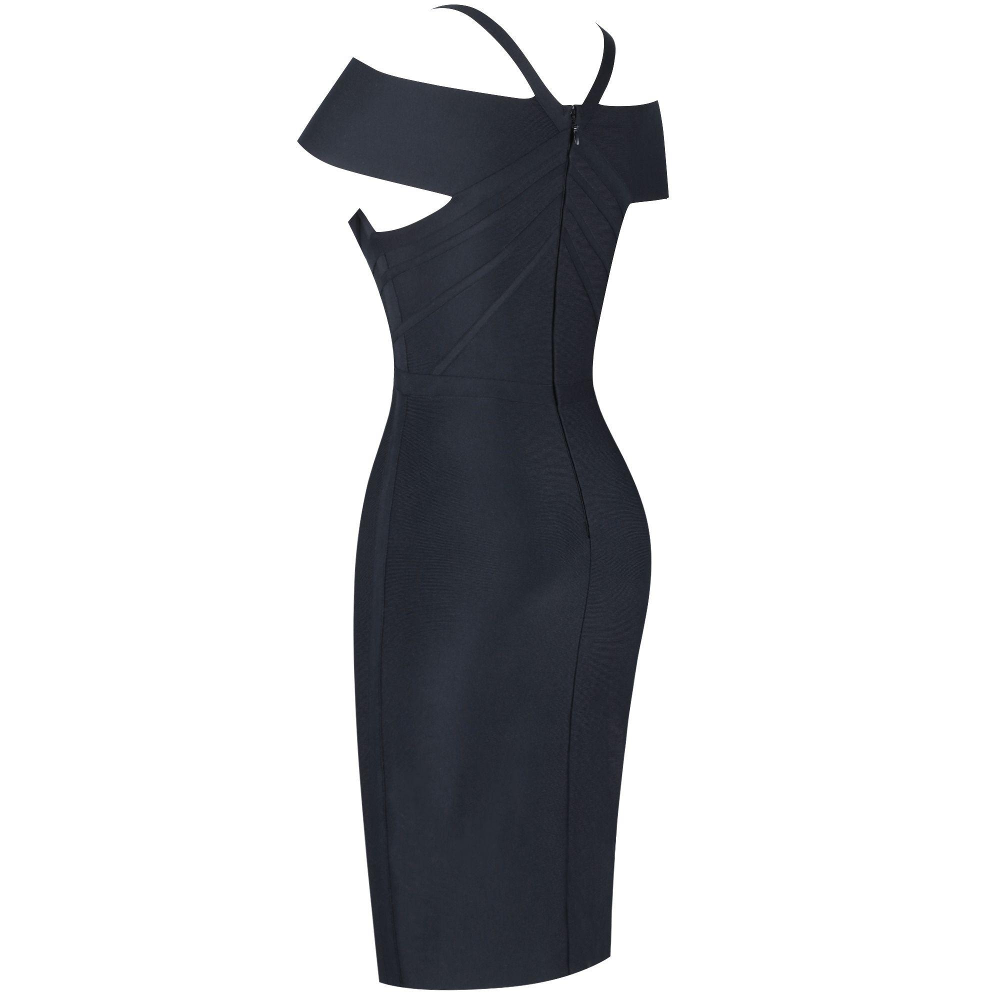 Black Striped Over Knee Short Sleeve Strapy Bandage Dress PF19089-Black