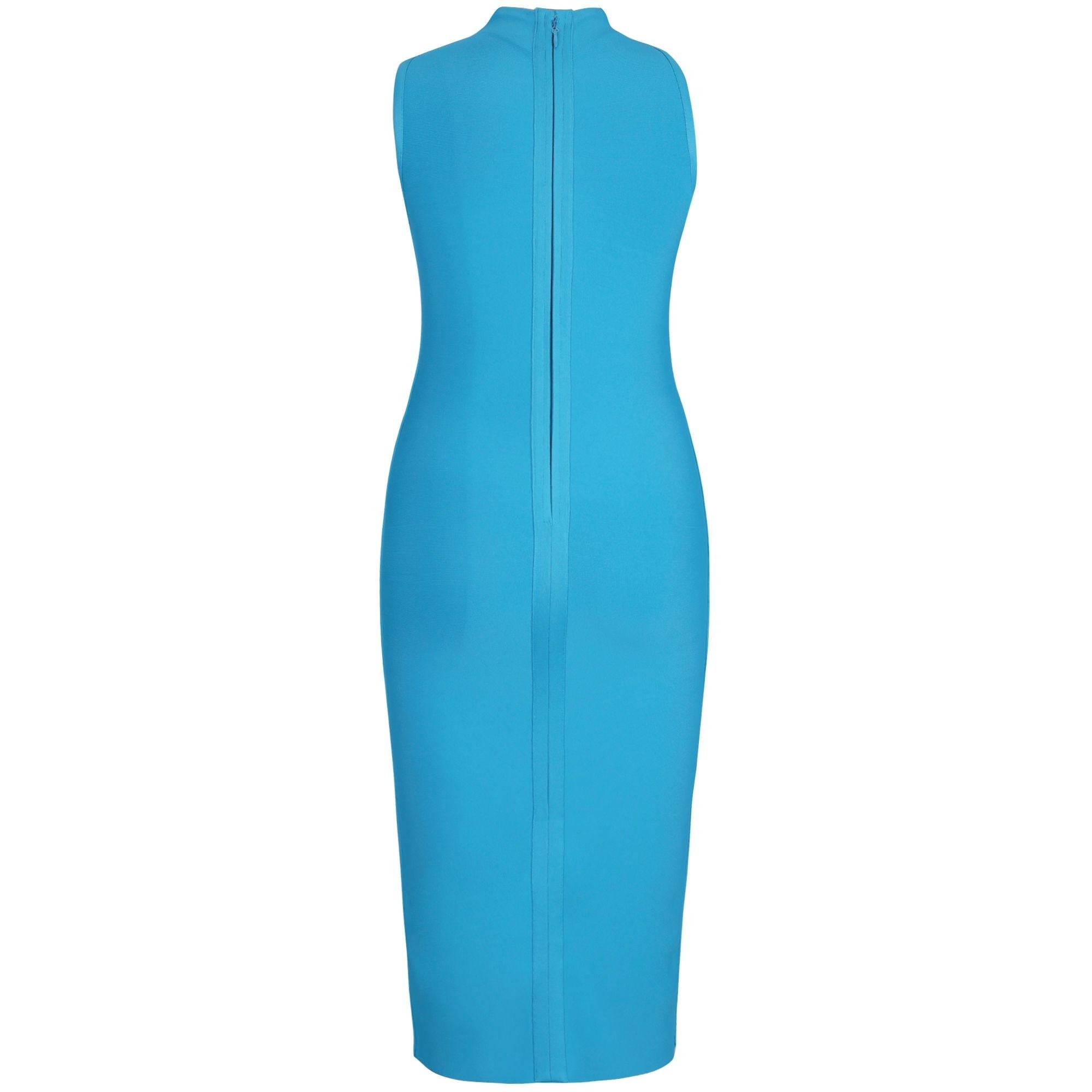 Blue Plus Size Plain Over Knee Sleeveless High Neck Bandage Dress DPHK053-Blue