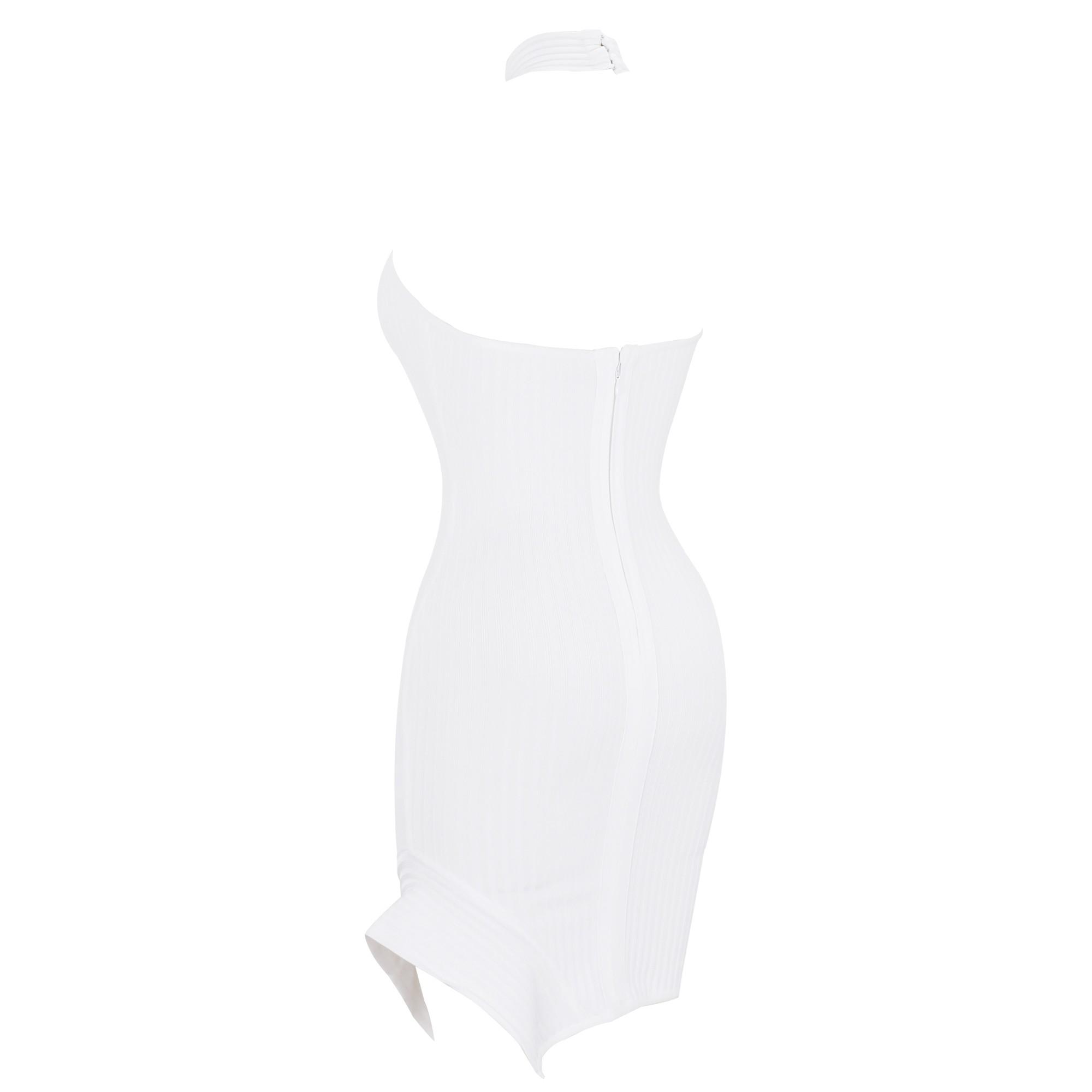 White Halter Sleeveless Over Knee Irregular Hemline Backless Party Bandage Dress HQ247-White