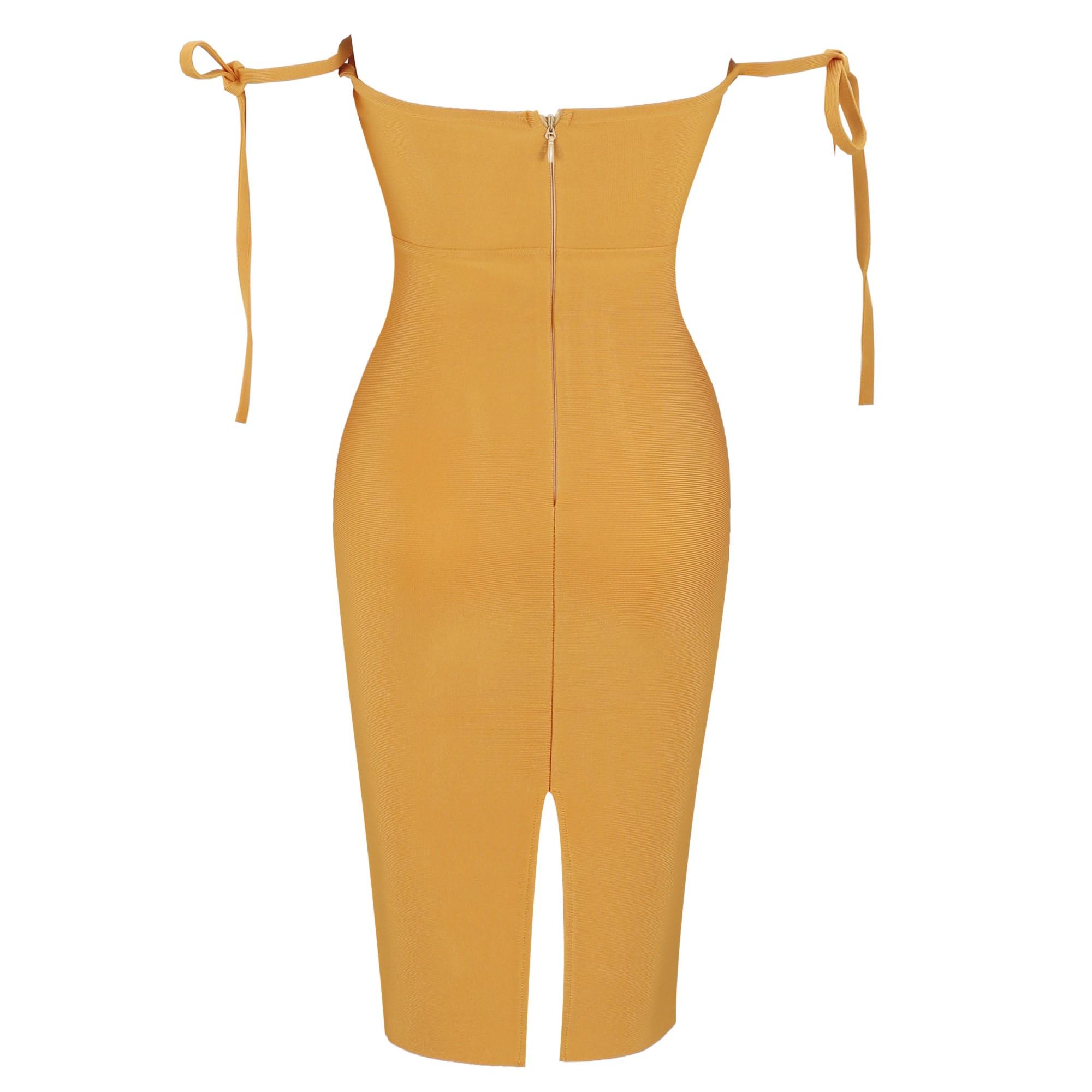 Orange Off Shoulder Sleeveless Mini High Quality Bandage Dress HQ251-Orange