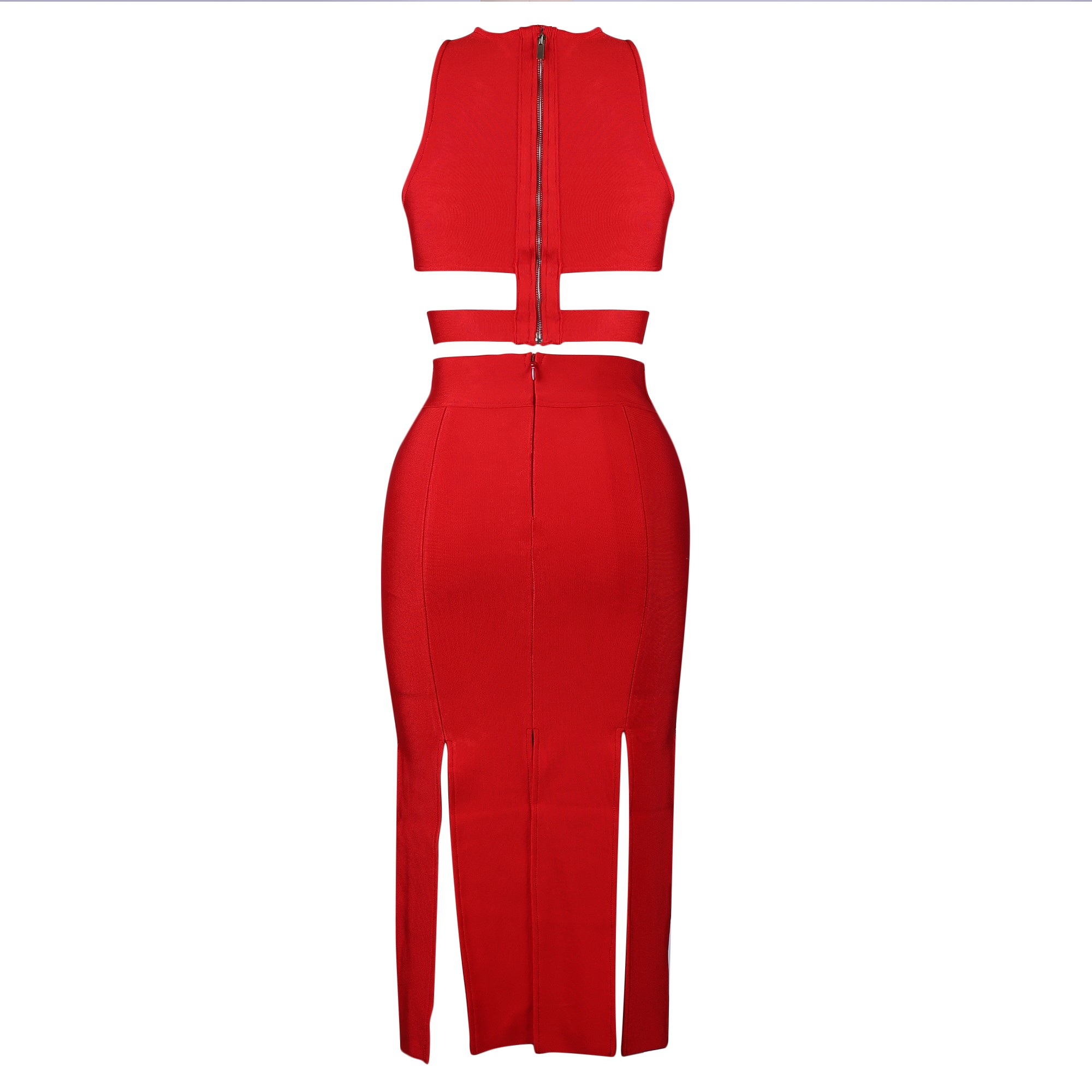 Rayon - Red Round Neck Sleeveless 2 Piece Tassels High Quality Bandage Dress HJ532-Red