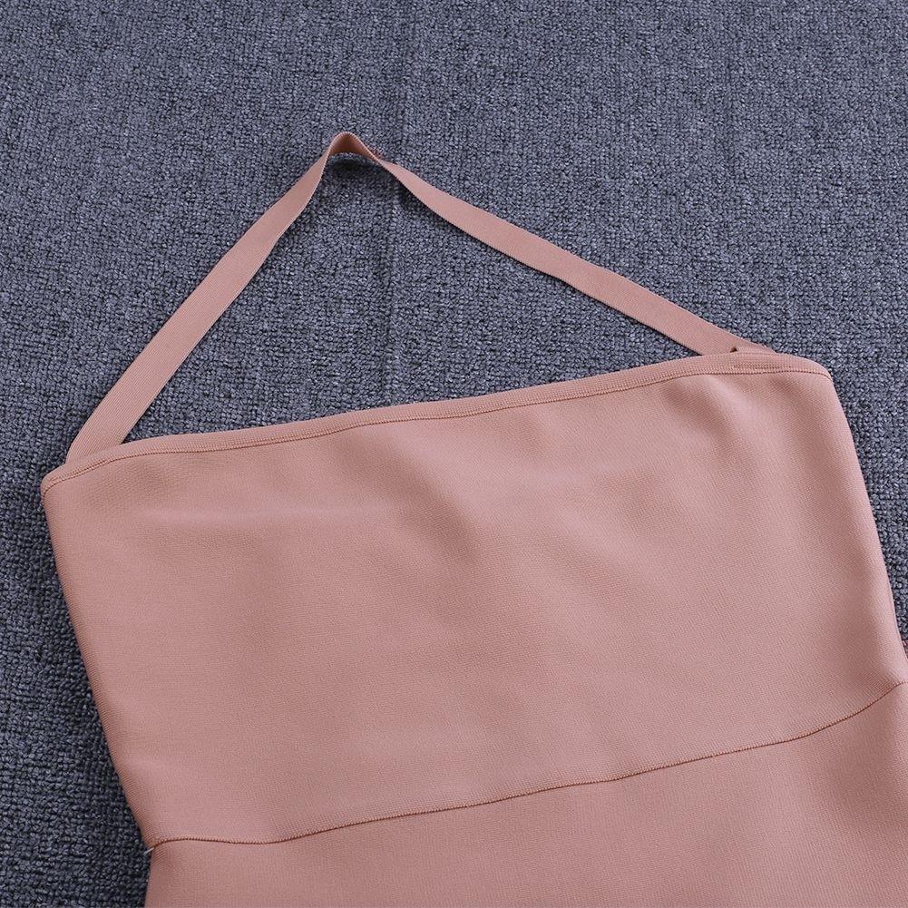 Apricot Plus Size Mermaid Maxi Sleeveless Halter Bandage Dress DF0906-Apricot