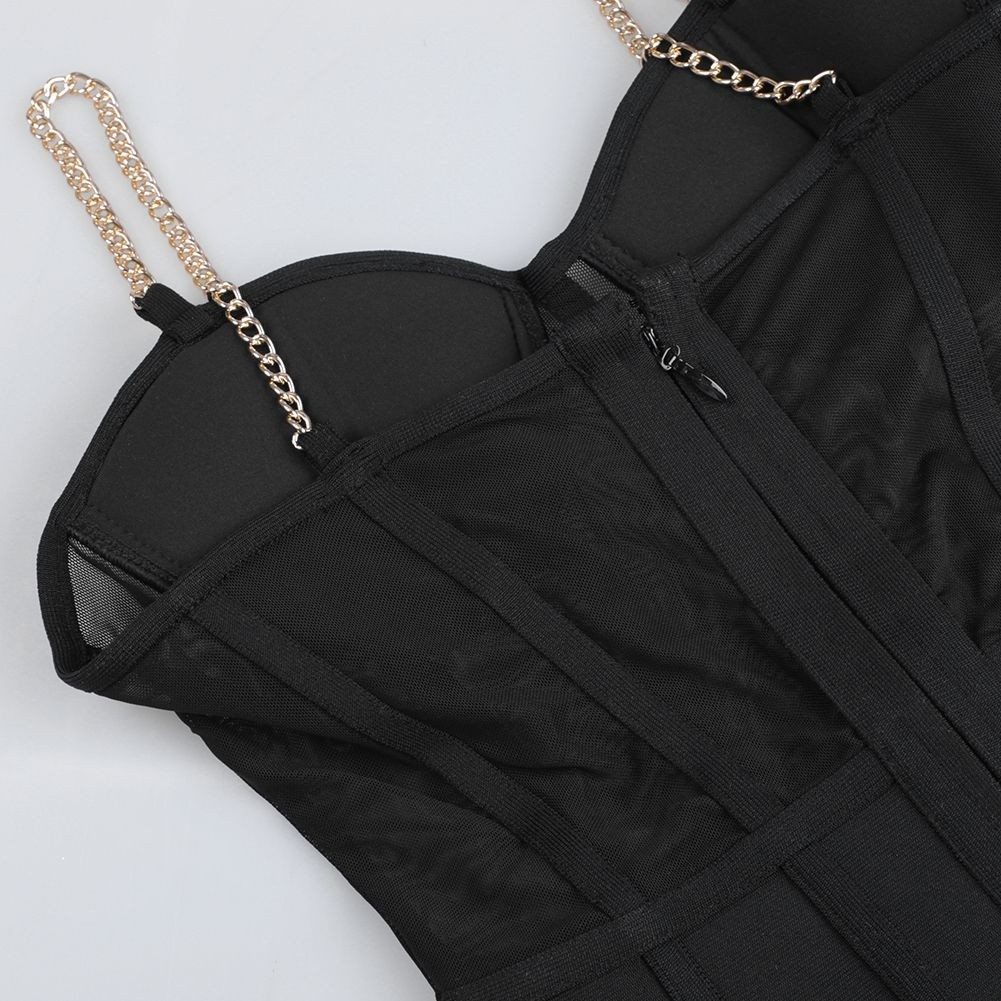 Black Mesh Metal Shoulder Strap Over Knee Sleeveless Strapy Bandage Dress PP19138-Black