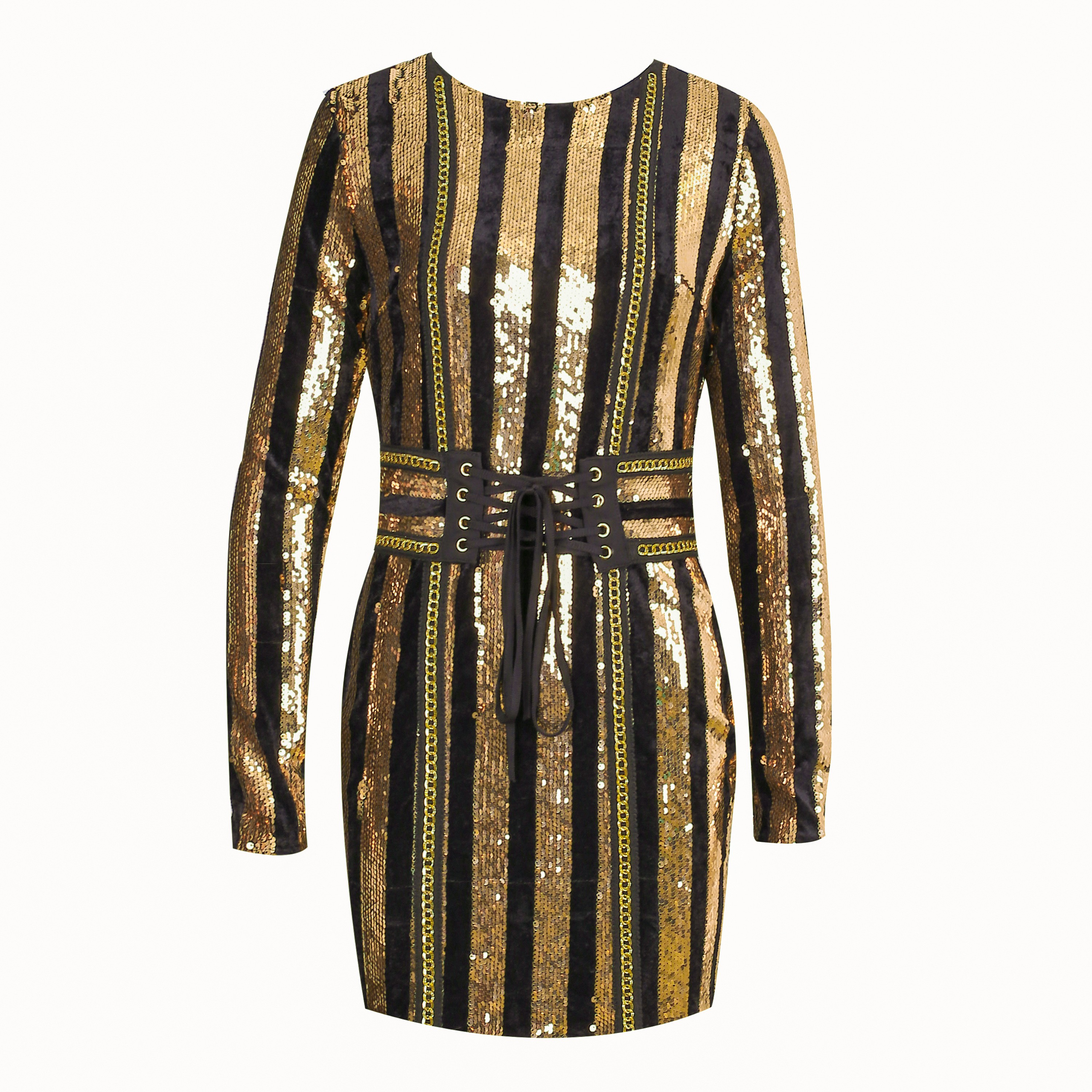 Gold Round Neck Long Sleeve Above Knee Sequined Bling Club Bodycon Dress HW238-Gold