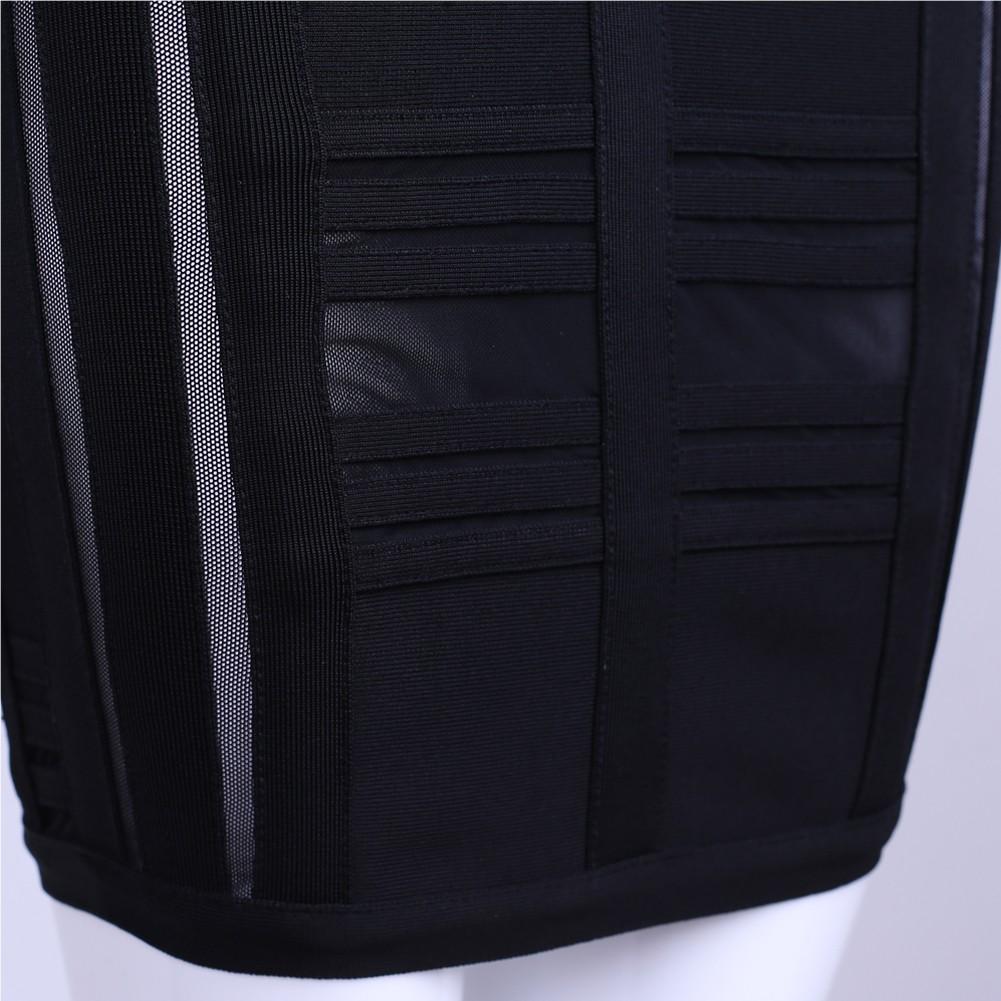 Black Strapy Long Sleeve Mini Sidestripe Strapless Bandage Dress HK012-Black