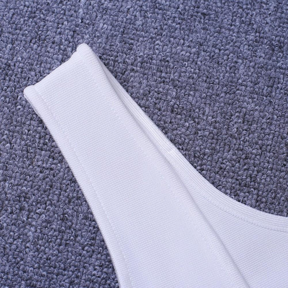 Beige Round Neck Sleeveless Mini Color Blocked Lace Up Sexy Bandage Dress HF119-Beige