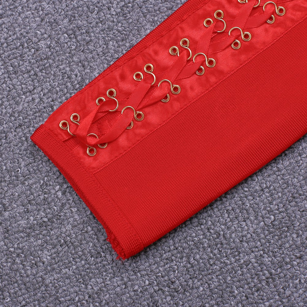 High Quality Off Shoulder Longsleeve Mini Red Metal Studded Bandage Dress HT0074-Red