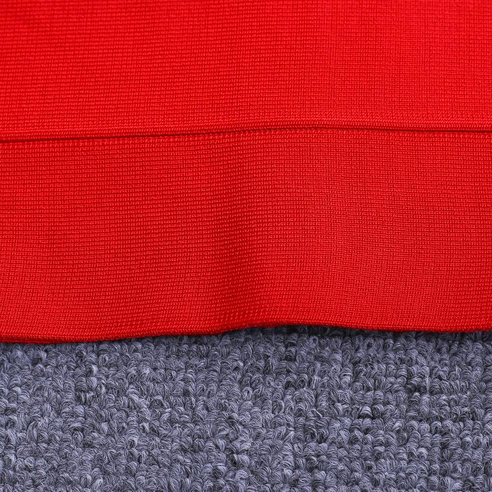 V neck sleeveless over knee red party bandage dress HB466-red