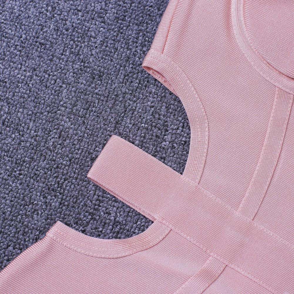 Rayon - Sexy Pink Off Shoulder Over Knee Cut Out Bandage Dress