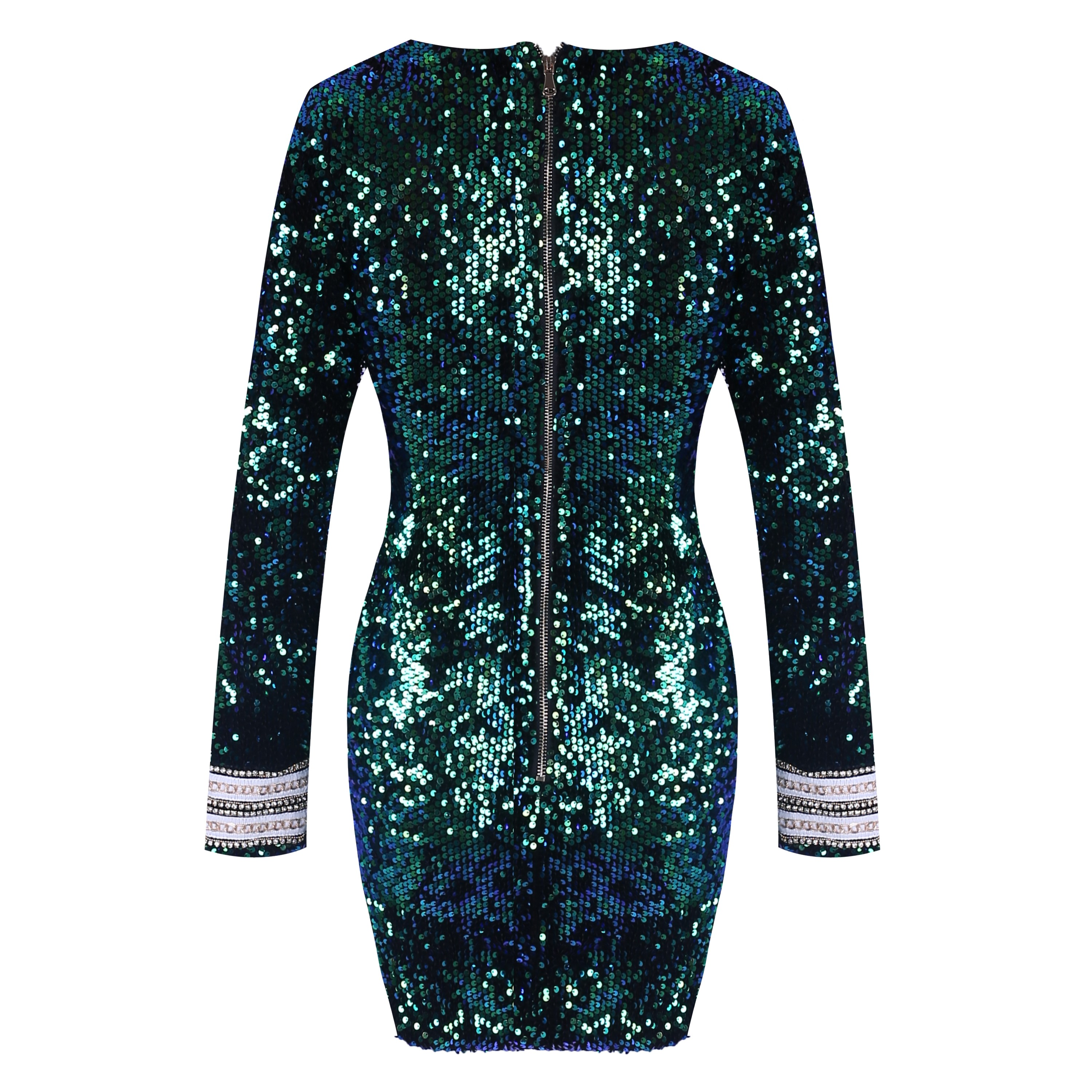 Green V Neck Long Sleeve Mini Sequined Metal Embellished Newest Bodycon Dress HW240-Green
