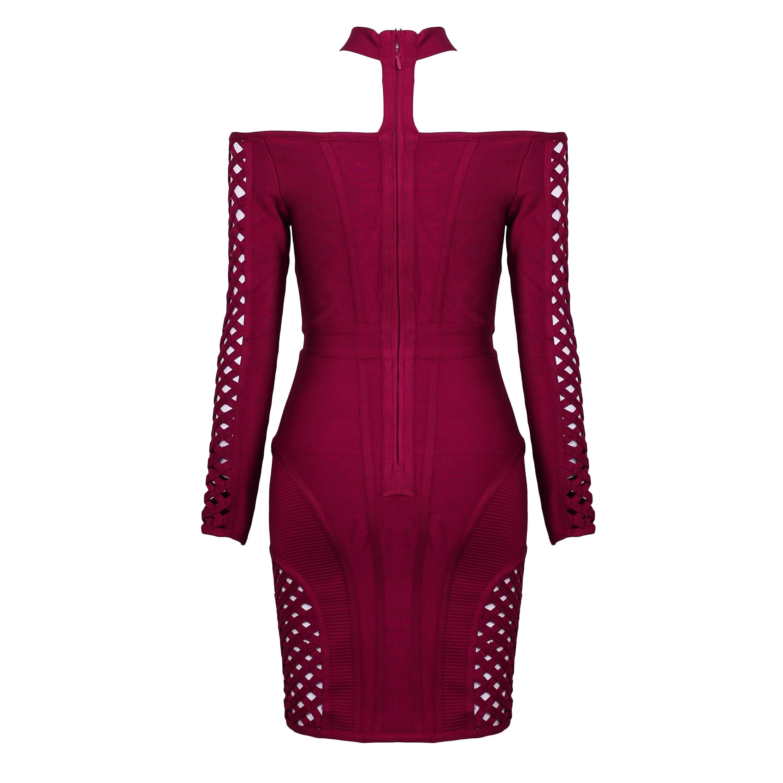 Rayon - Wine Off Shoulder Long Sleeve Mini Cut Out Sexy Bandage Dress HJ0254-Wine
