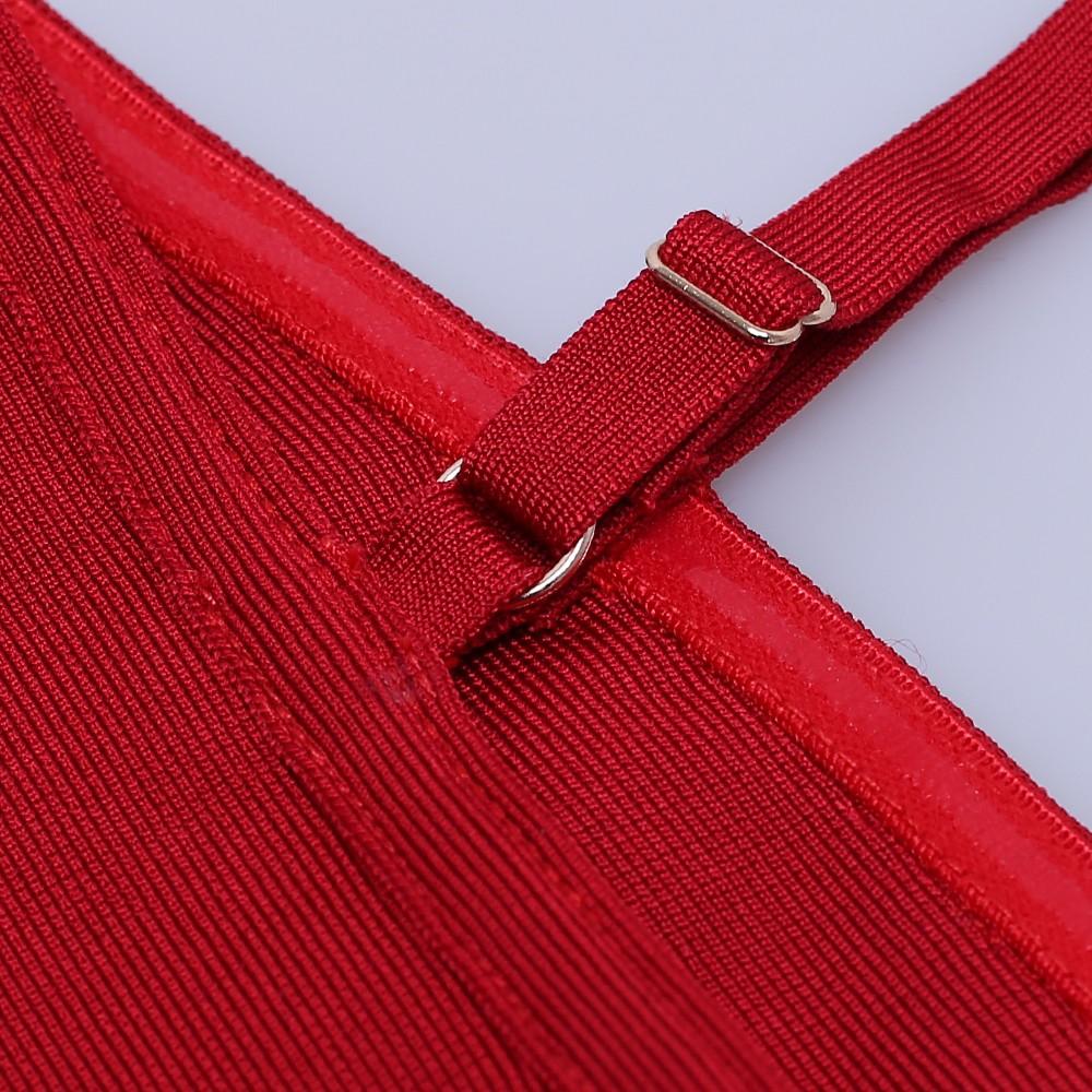 Wine Strapy Sleeveless Over Knee Plain Fashion Bandage Dress HK021-Wine
