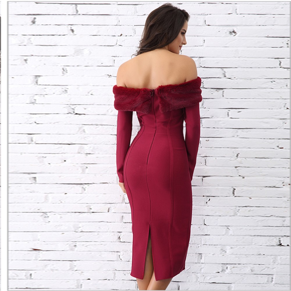 Rayon - Wine Off Shoulder Long Sleeve Midi Removable Fur Fashion Bandage Dress H0068-Wine