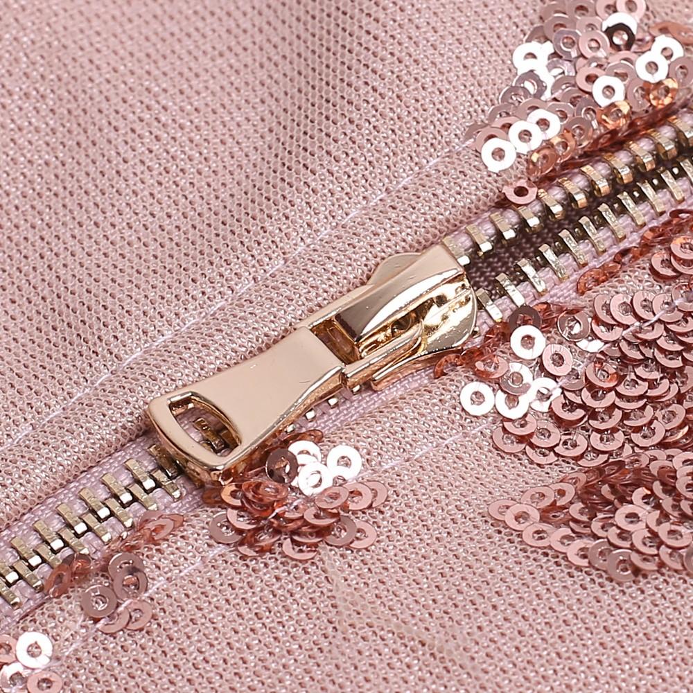 Pink V Neck Sleeveless Mini Tasseled Sequined Party Bandage Dress HB5239-Pink