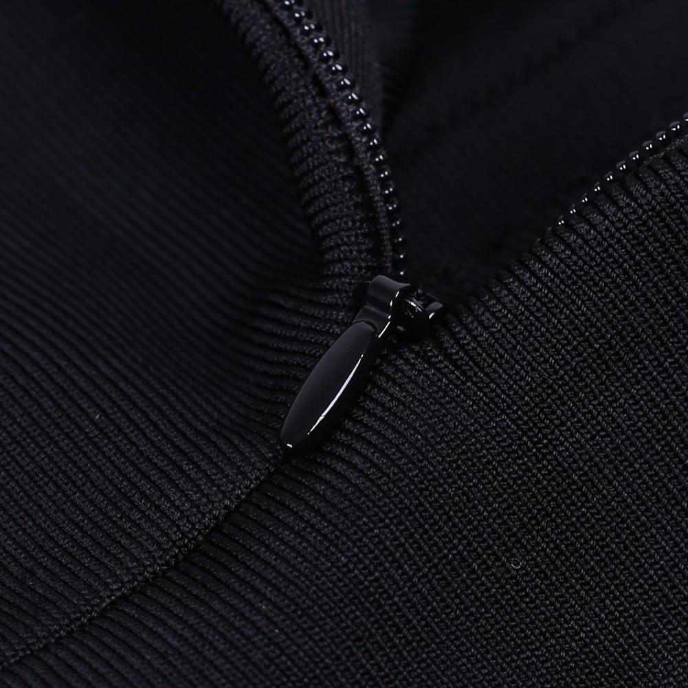 Rayon - Black V Neck Sleeveless 2 Piece Tassels High Quality Bandage Dress HJ538-Black