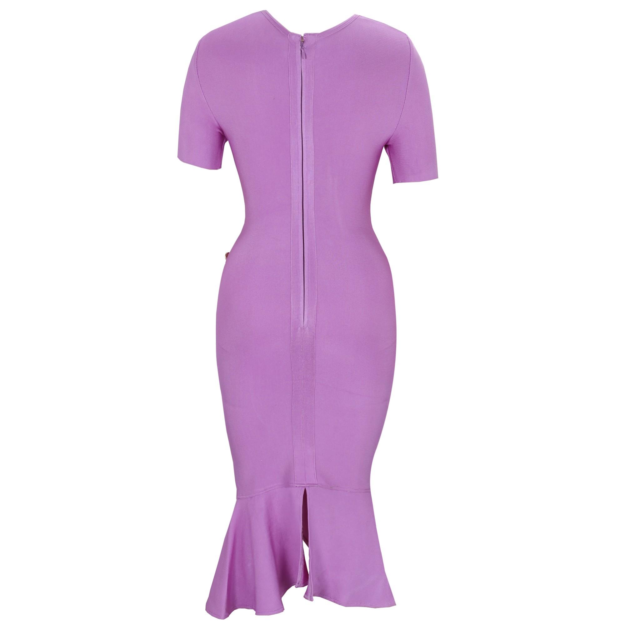 Rayon - Light Purple Round Neck Short Sleeve Over Knee Fishtail Evening Bandage Dress HJ556-Light Purple