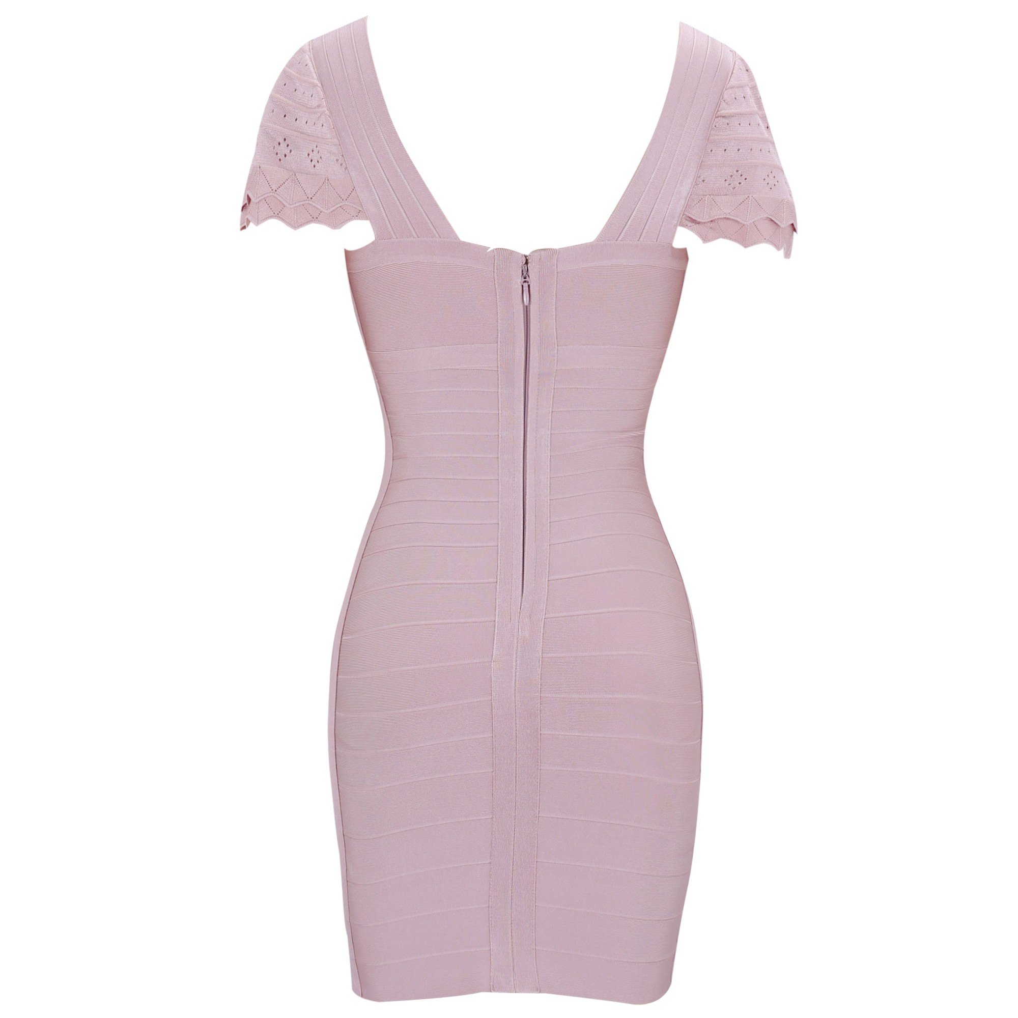 Rayon - Nude V Neck Cap Sleeve Mini Scolloped Sleeves Lace Material Cute Bandage Dress SW024-Nude