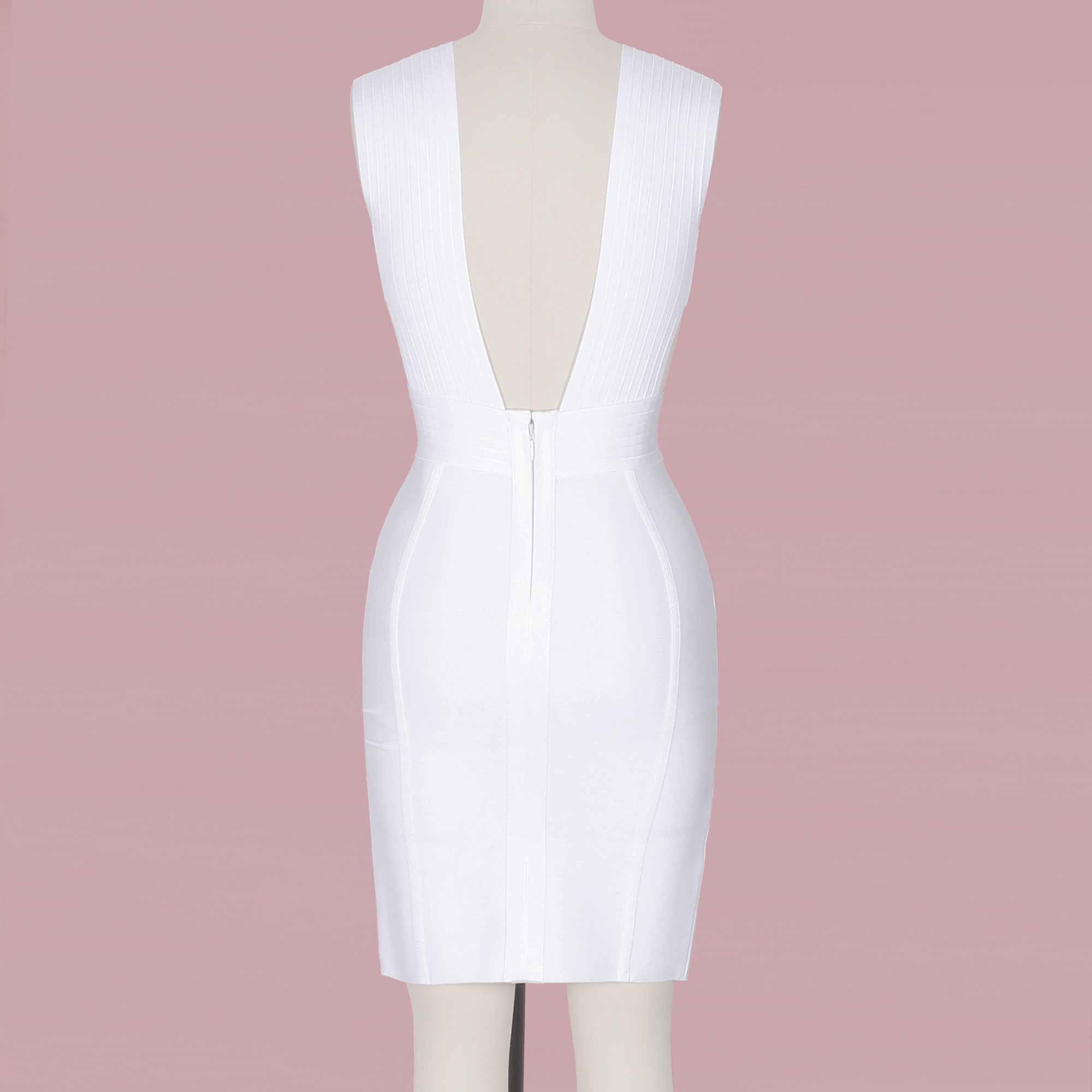 White V Neck Sleeveless One Piece Plain Side Slitted Fashion Bandage Dress HI864-White