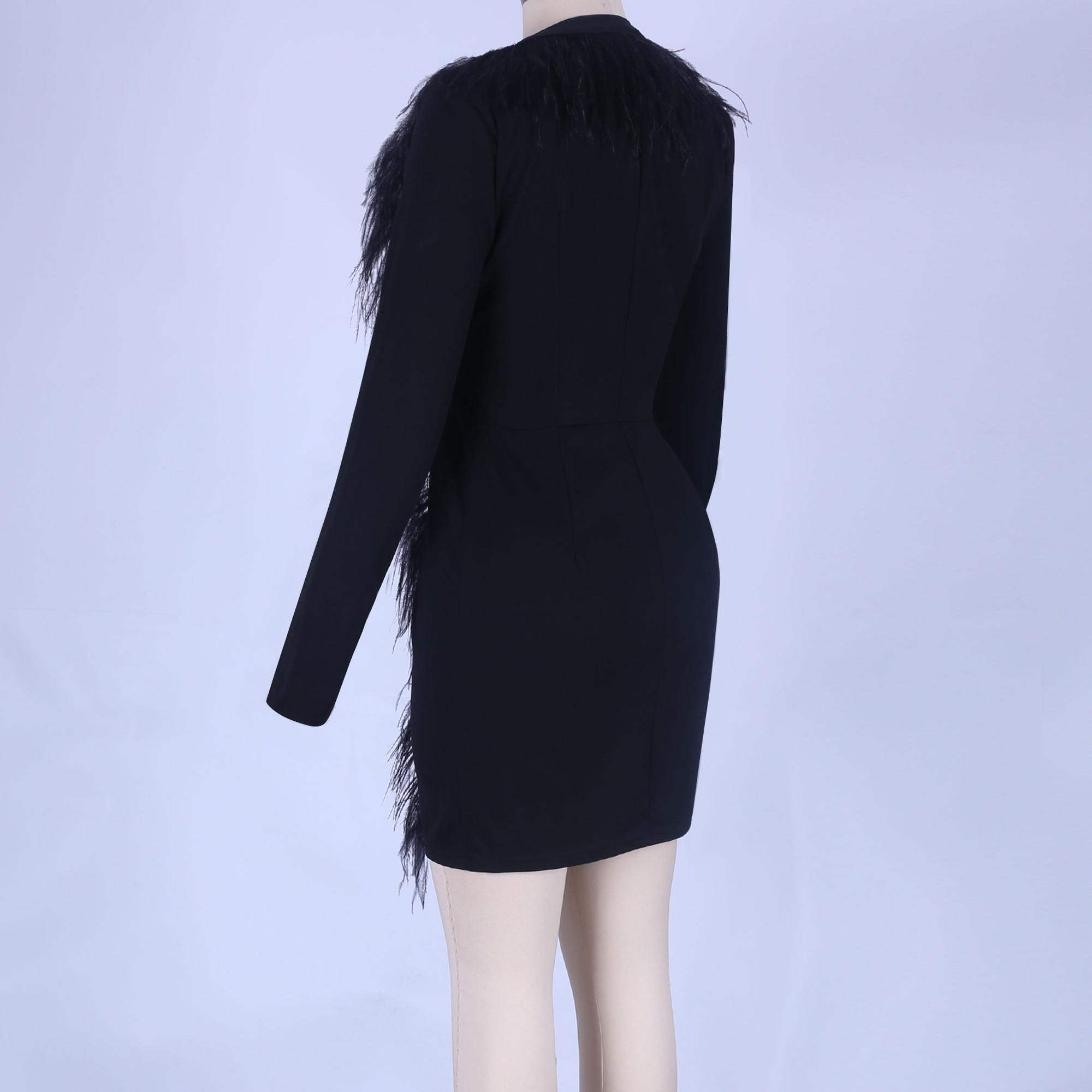 Black V Neck Long Sleeve Mini Fur Sexy Bodycon Dress FSY001-Black