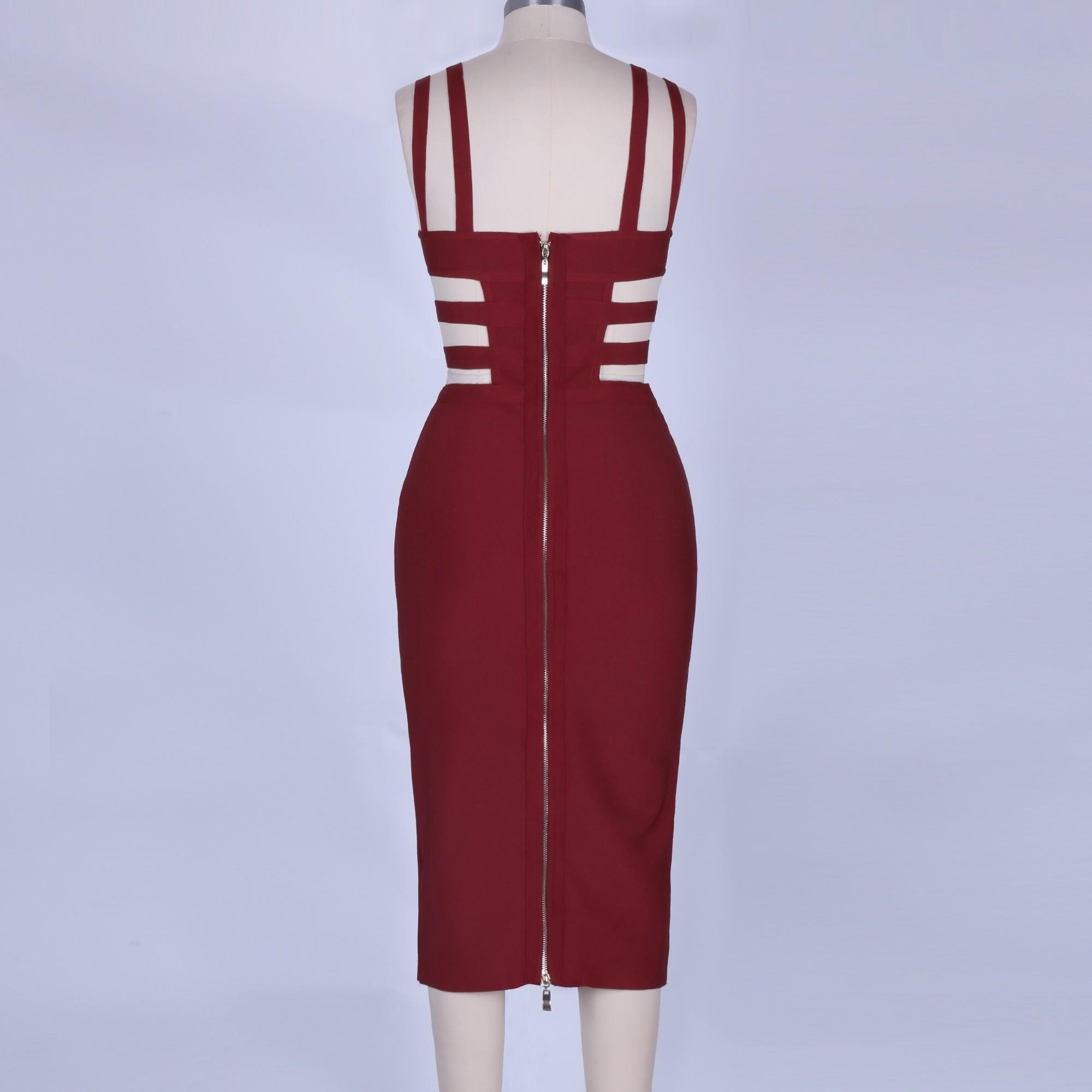 Wine Strap Sleeveless Mini Metal Studded Fashion Bandage Dress POHJ676-Wine