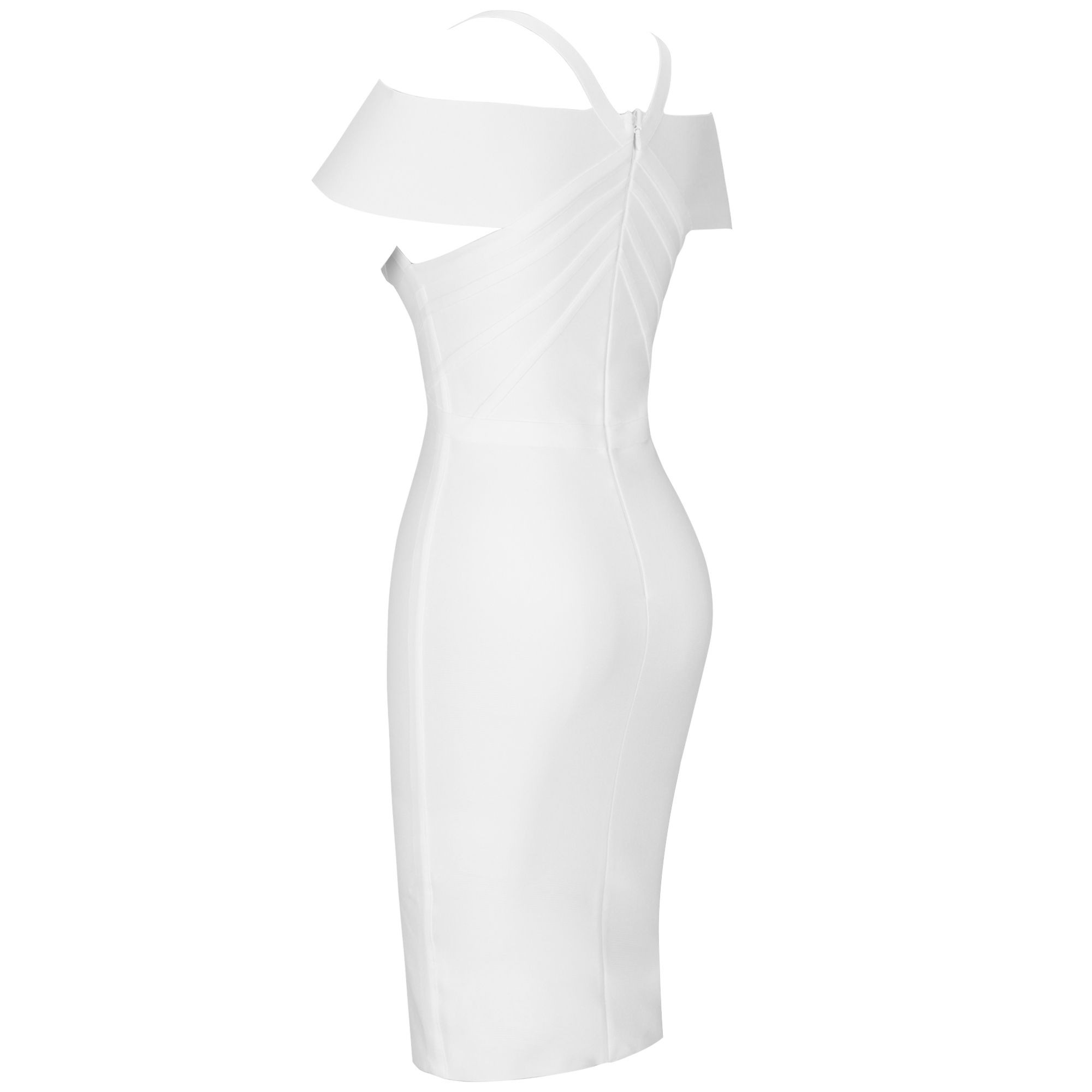 White Striped Over Knee Short Sleeve Strapy Bandage Dress PF19089-White