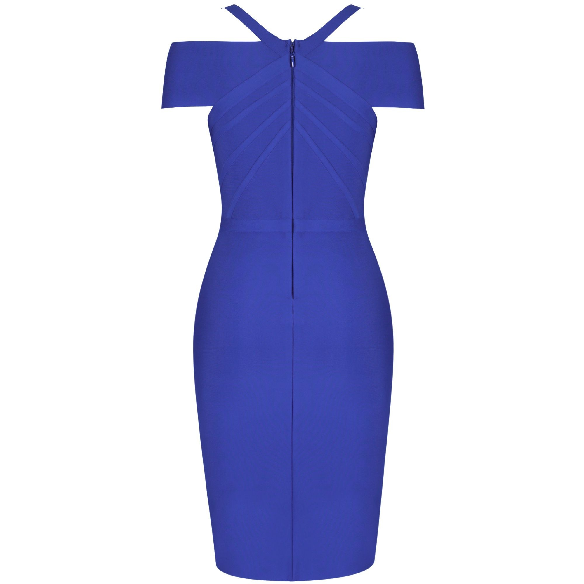 Roya Blue Striped Over Knee Short Sleeve Strapy Bandage Dress PF19089-Roya-Blue