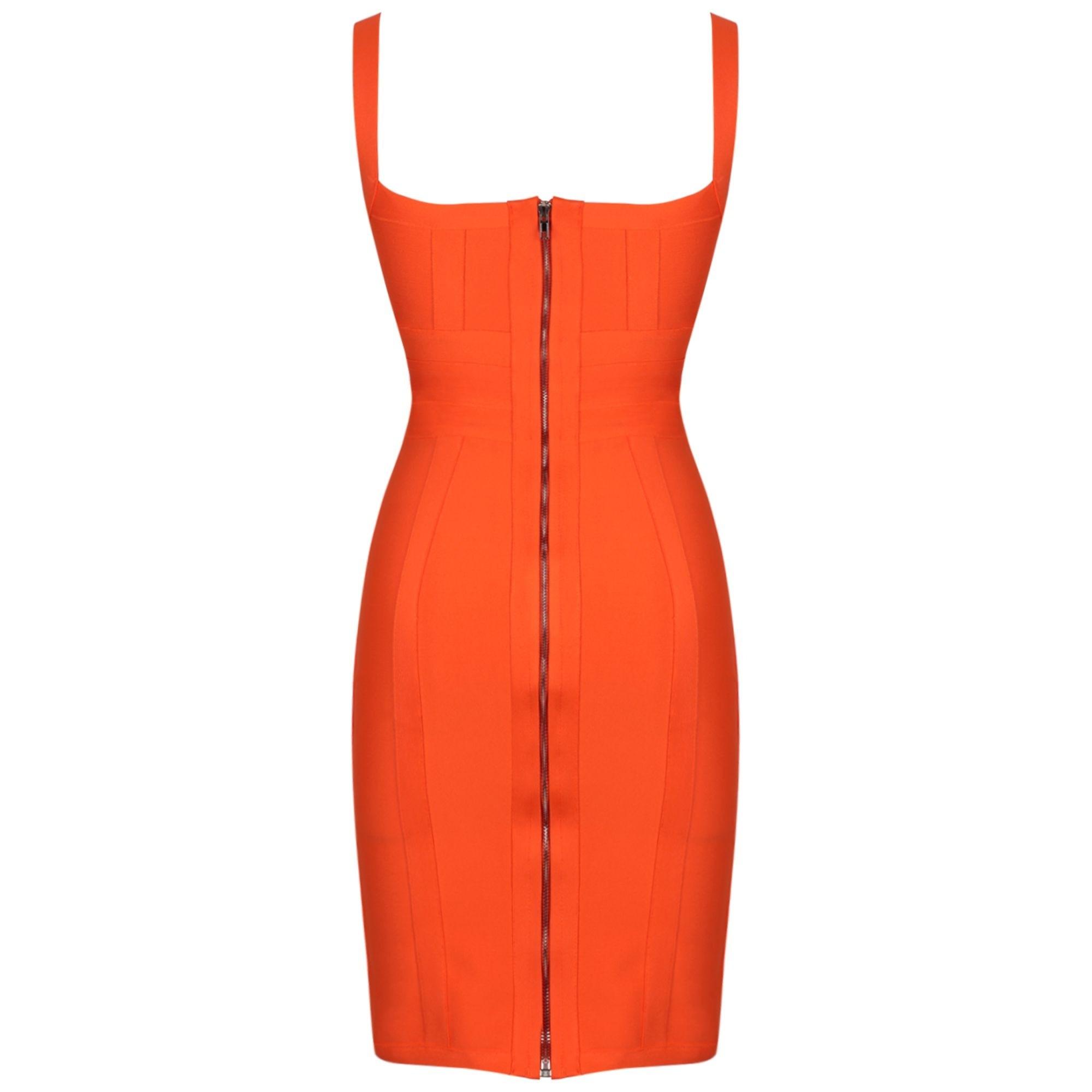 Orange Striped Over Knee Sleeveless Strapy Bandage Dress PP19055-Orange