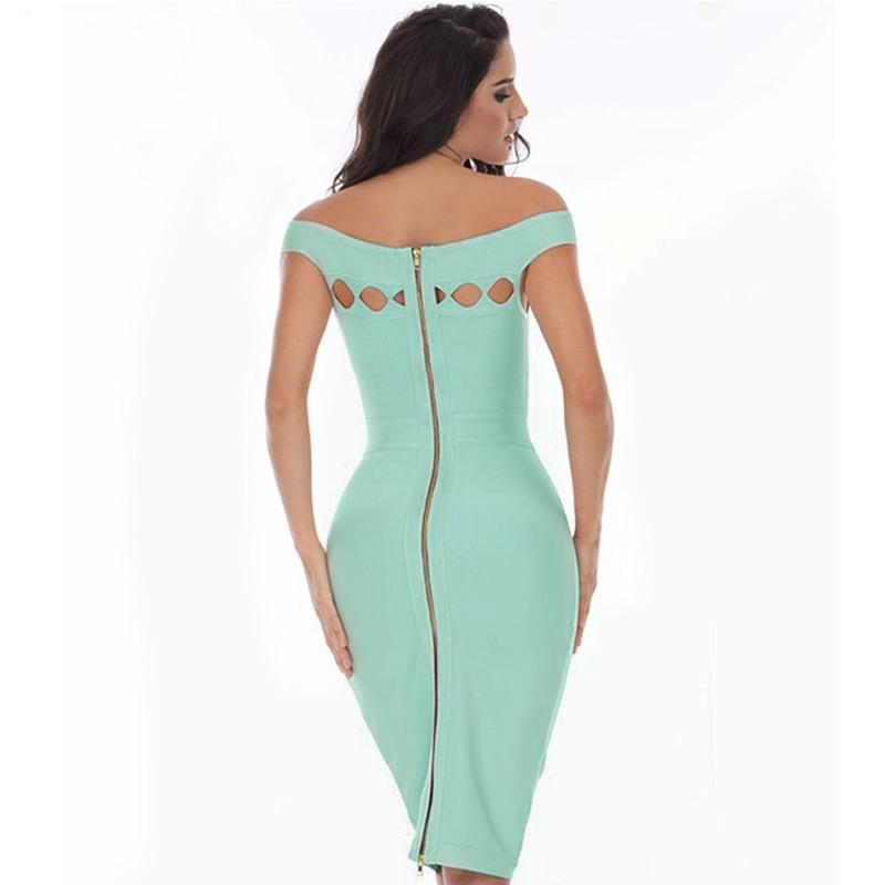 Fashion Off Shoulder Sleeveless Mini Light Green Cut Out Bandage Dress HD387-Light Green
