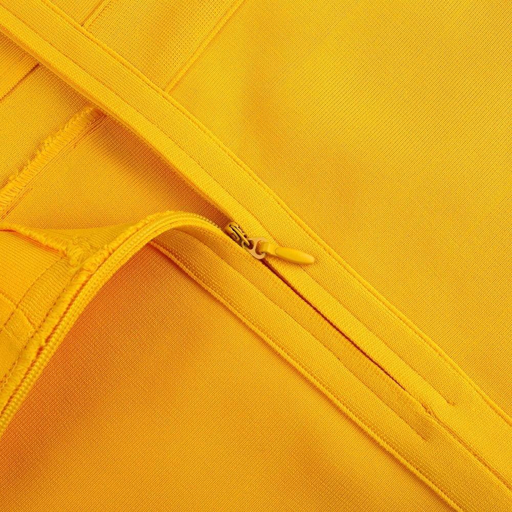 Yellow Mini Sleeveless Strapy Bandage Dress PK19116-Yellow