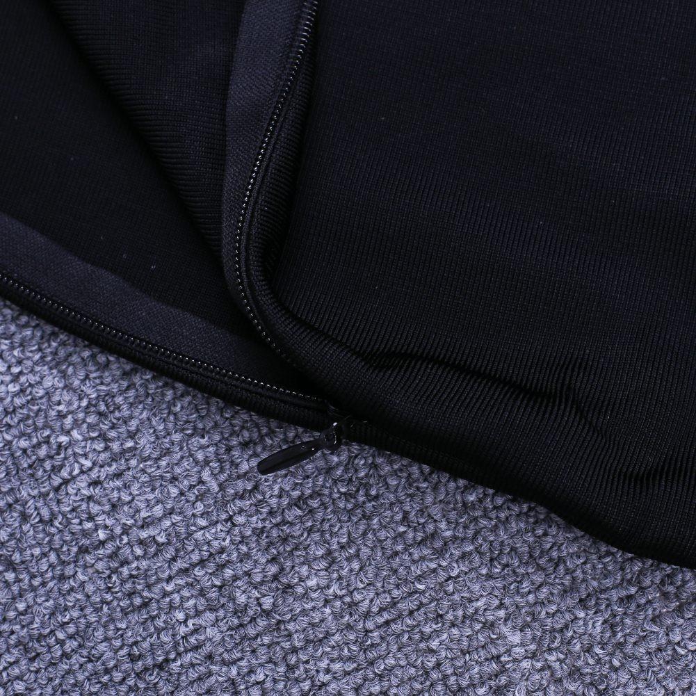 Black Strapy Sleeveless Mini Tassels Back Vent Fashion Bandage Dress HQ225-Black